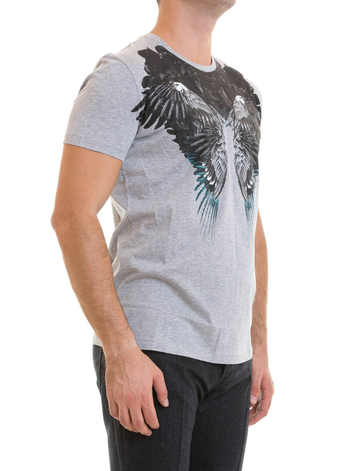 Contrasting wing printed t shirt by roberto cavalli t for Online printed t shirts