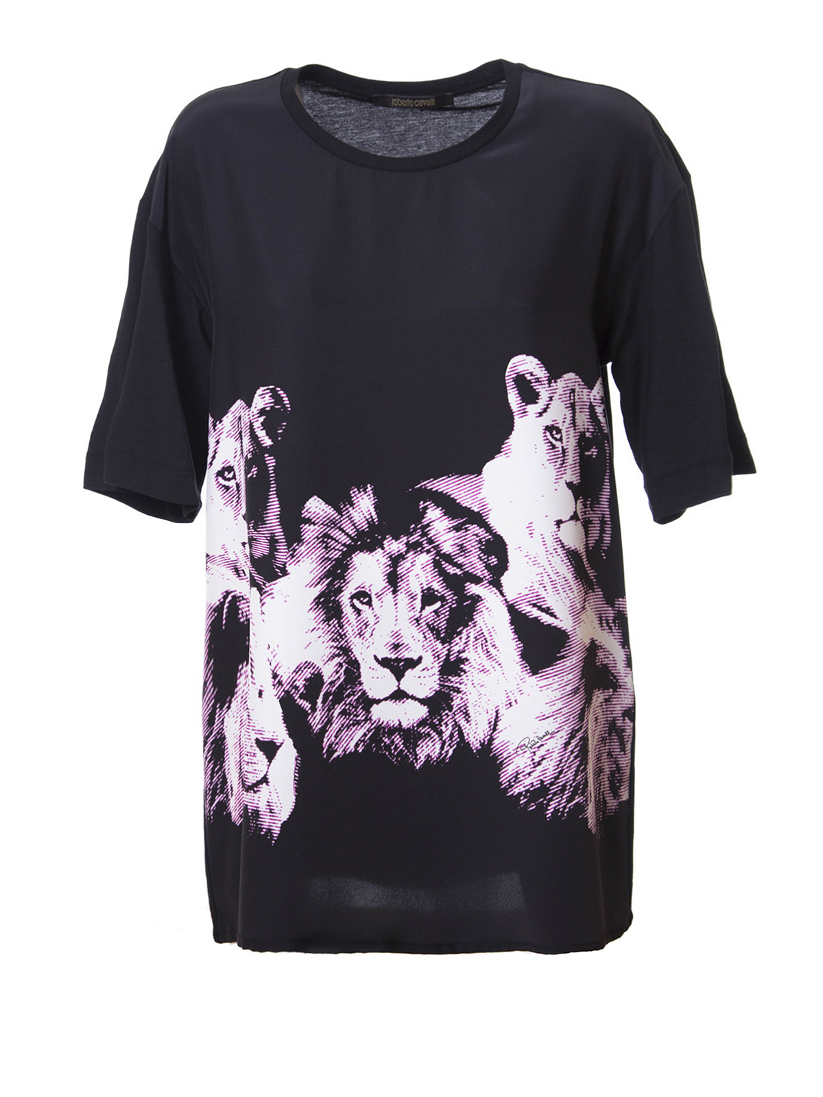 Shop Roberto Cavalli studded heraldic logo T-shirt - Grey on Stylicy Singapore for $