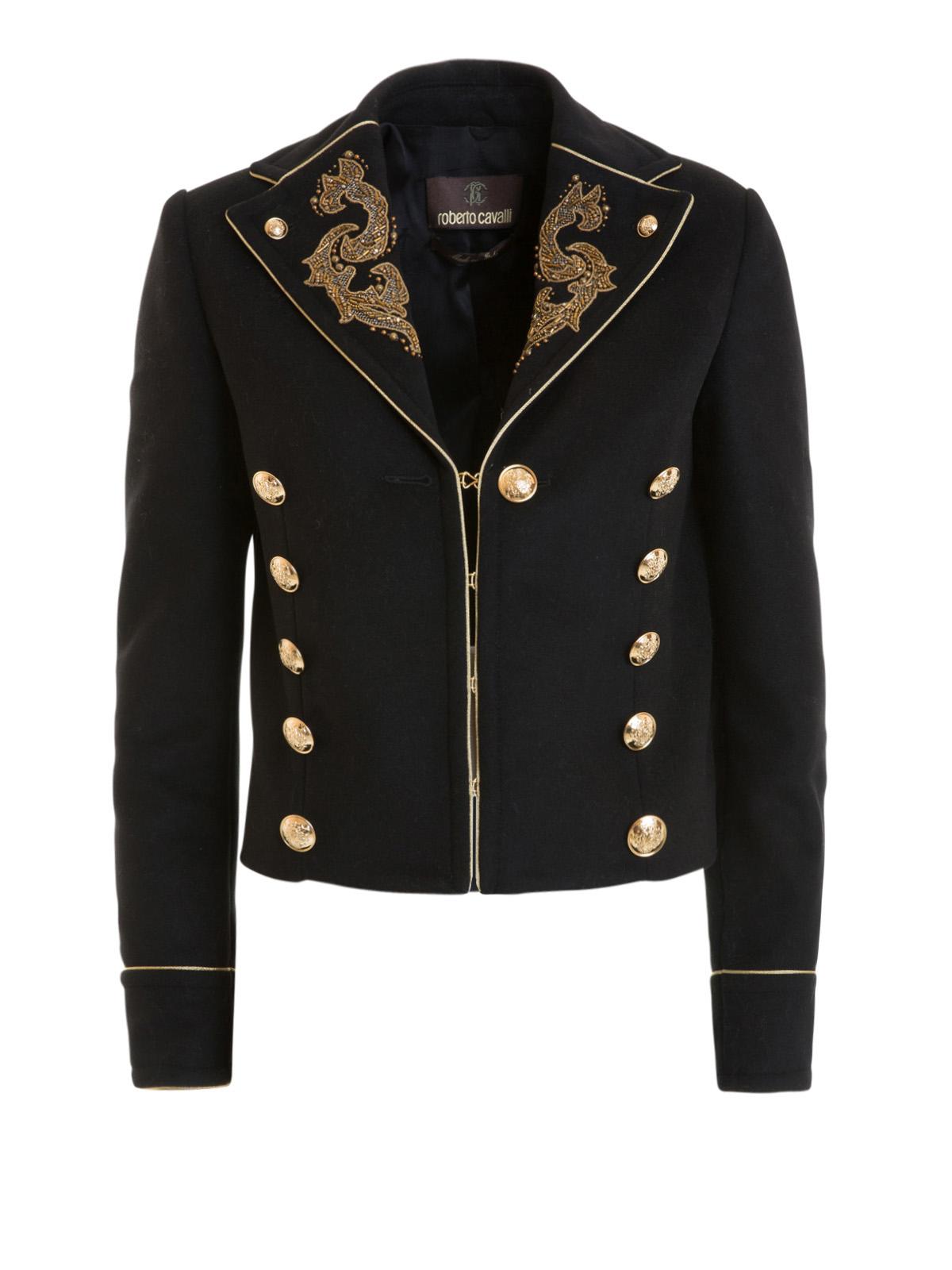 Golden arabesque embroidered jacket by roberto cavalli