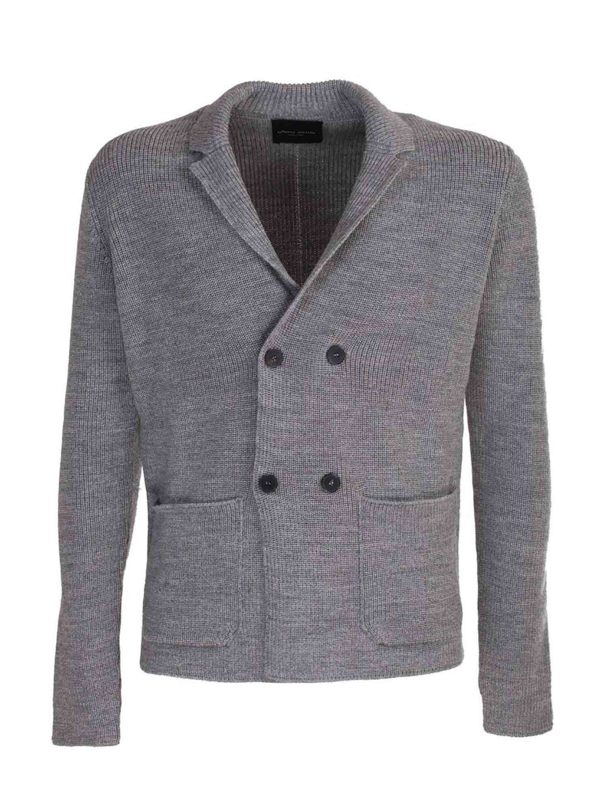 Roberto Collina DOUBLE-BREASTED KNITTED JACKET IN GREY