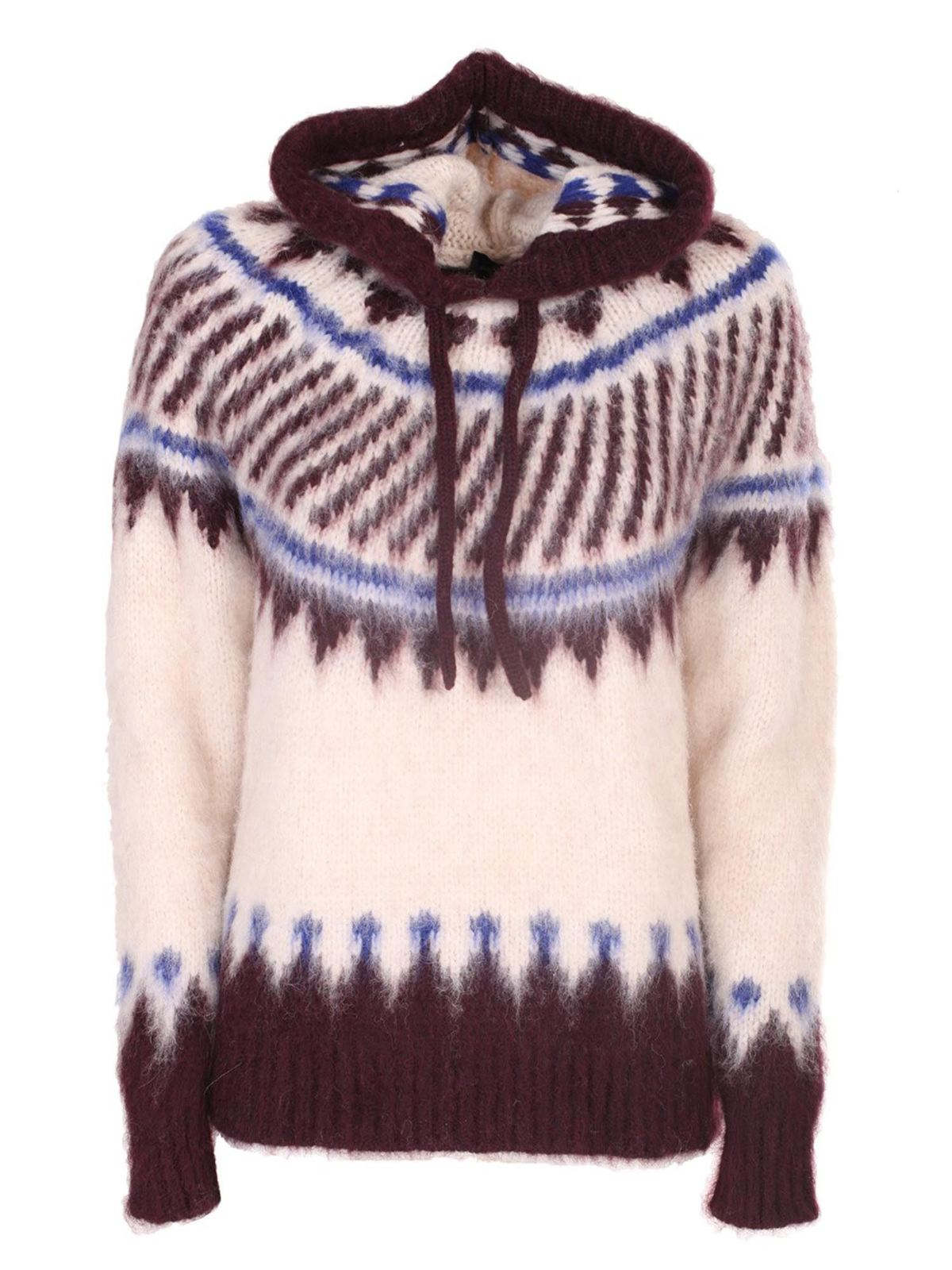 Roberto Collina HOODED SWEATER IN WOOL AND ALPACA IN BEIGE