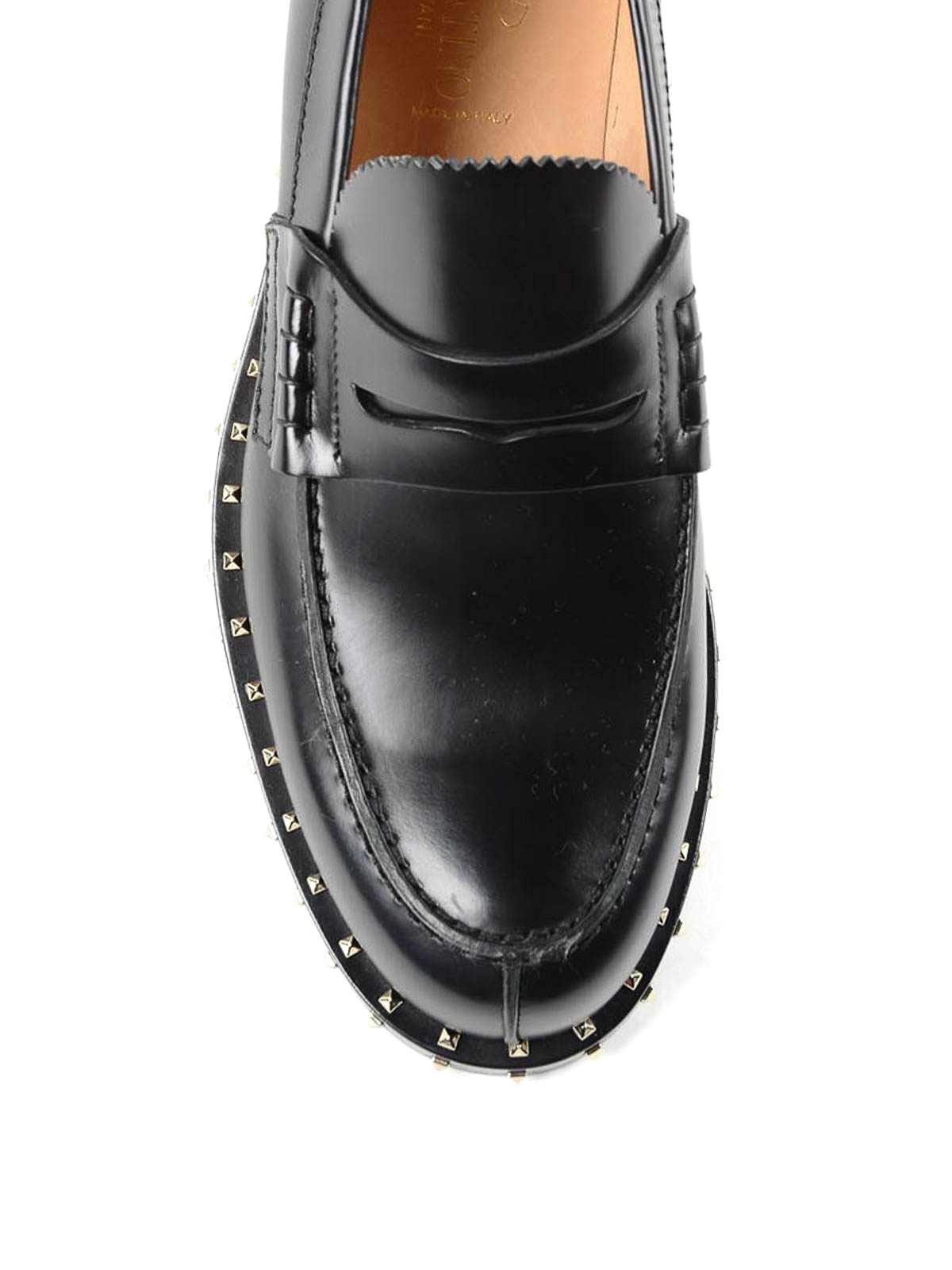 c5a4a51063f8c Valentino Garavani - Rockstud leather penny loafers - Loafers ...