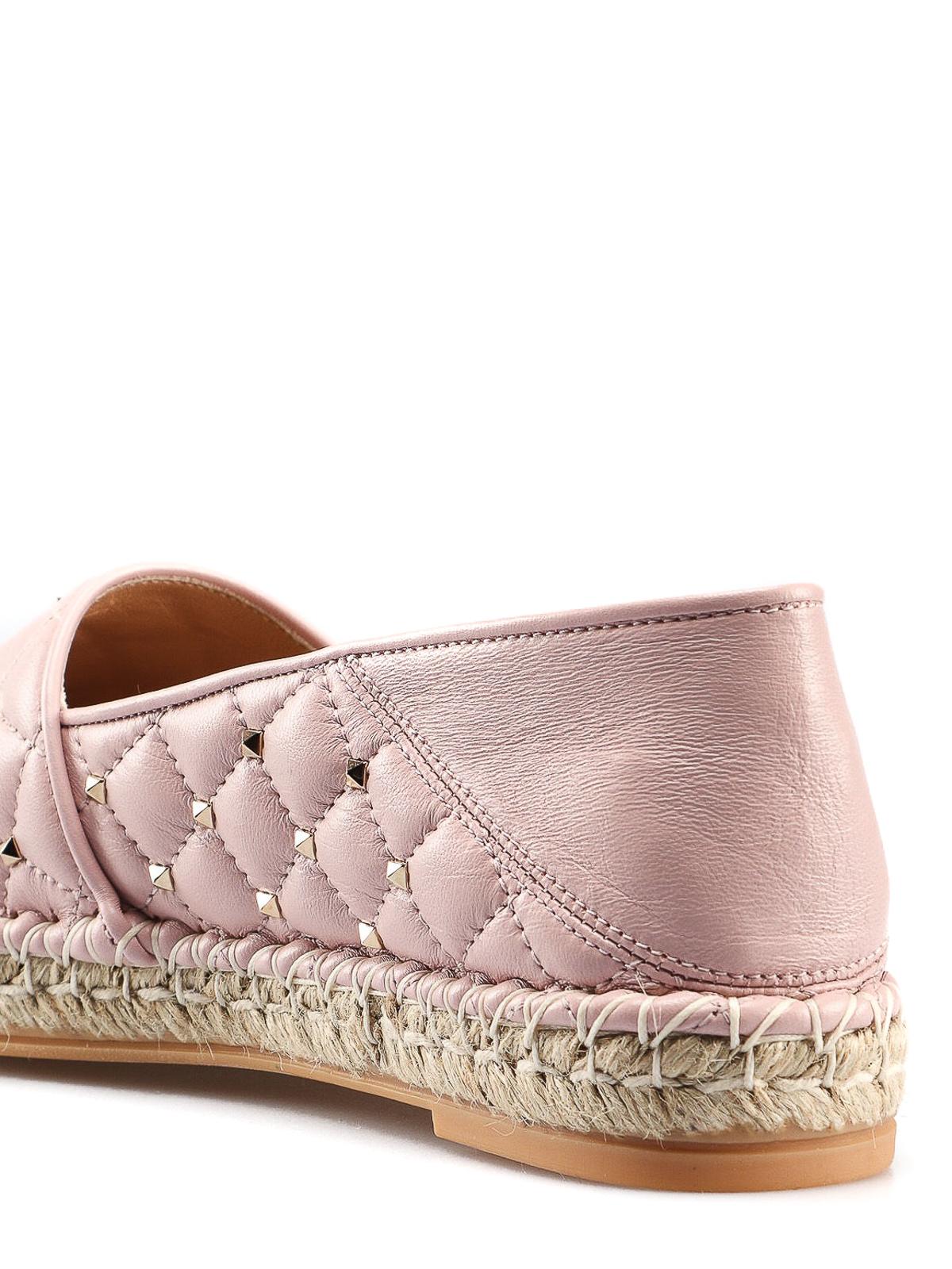 f1d6ca47f Rockstud light pink leather espadrilles shop online: VALENTINO GARAVANI