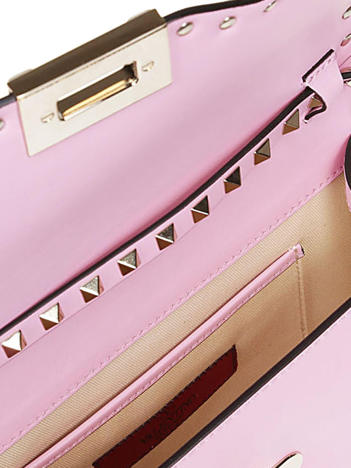 204f4654e33b Valentino Garavani - Rockstud pink smooth leather small bag - cross ...