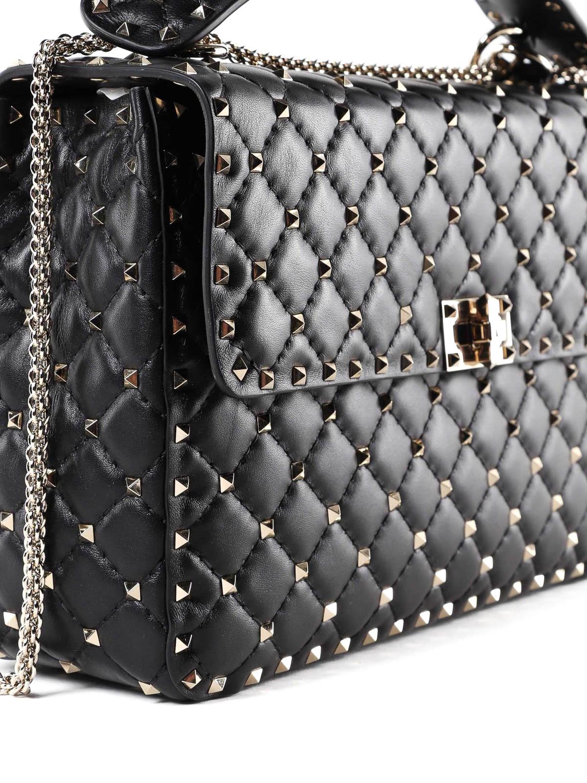6cd16110e5b5 Rockstud Spike large black lambskin bag shop online  VALENTINO GARAVANI