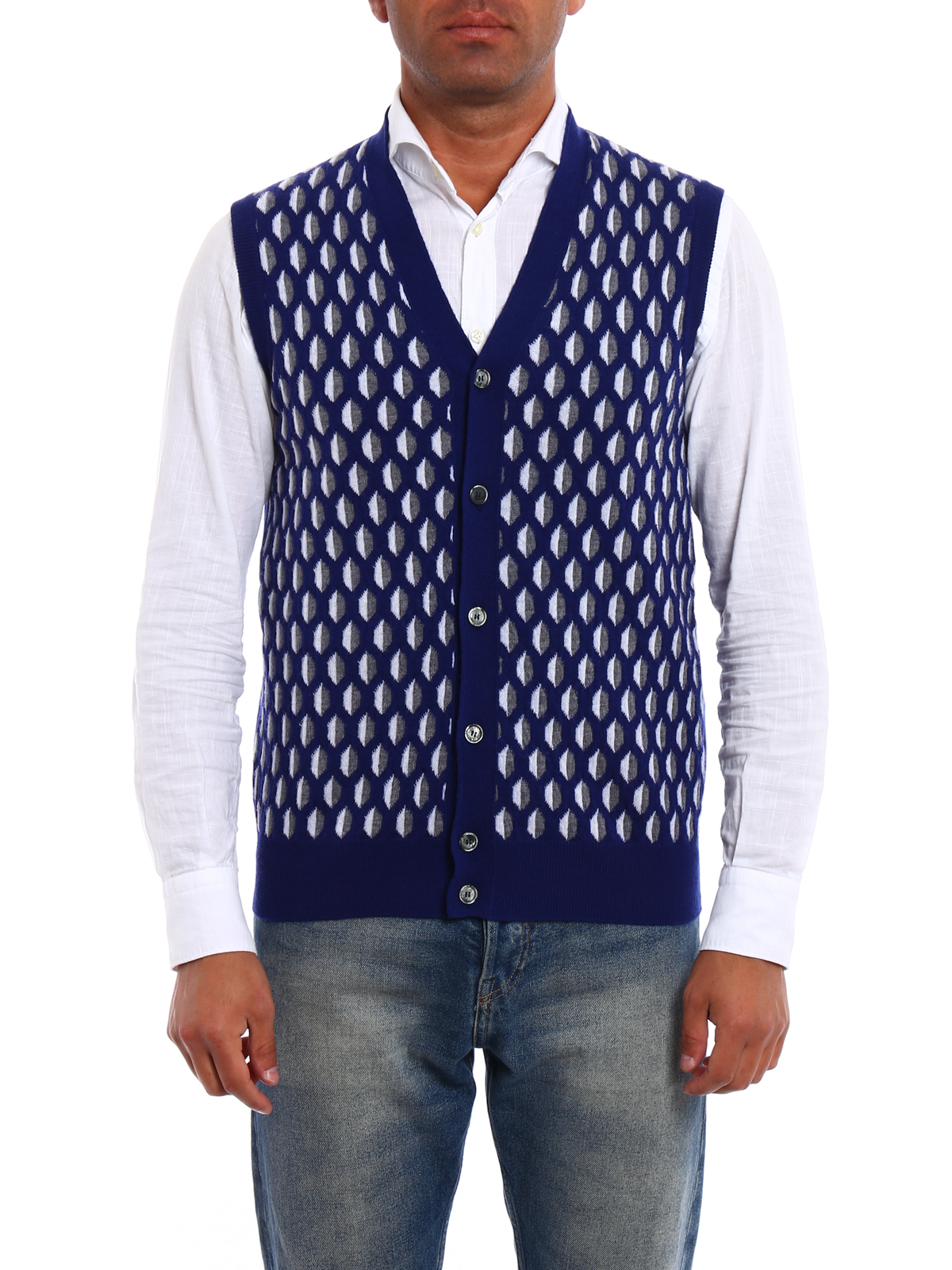 Sleeveless patterned wool cardigan by Roda - cardigans | iKRIX