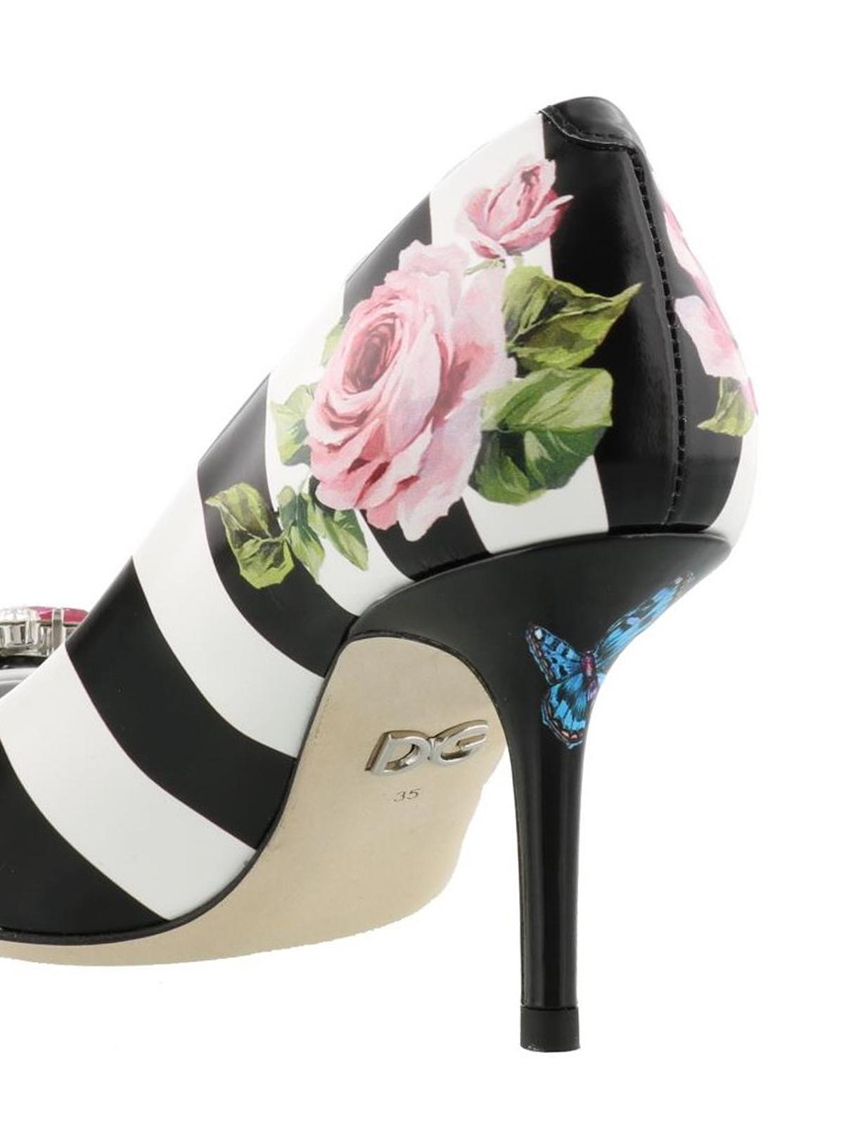 d902e6c1b73b Dolce   Gabbana - Rose print striped leather pumps - court shoes ...