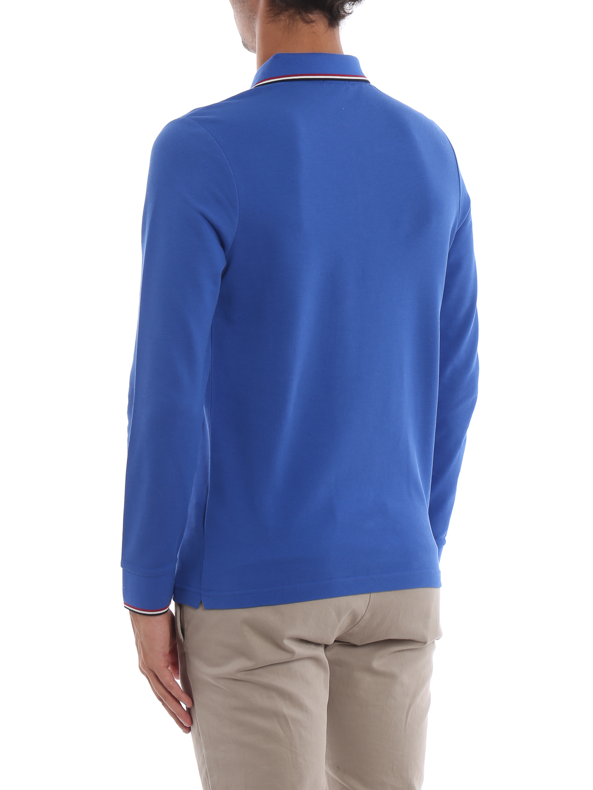 Royal blue long sleeve polo shirt shop online: MONCLER
