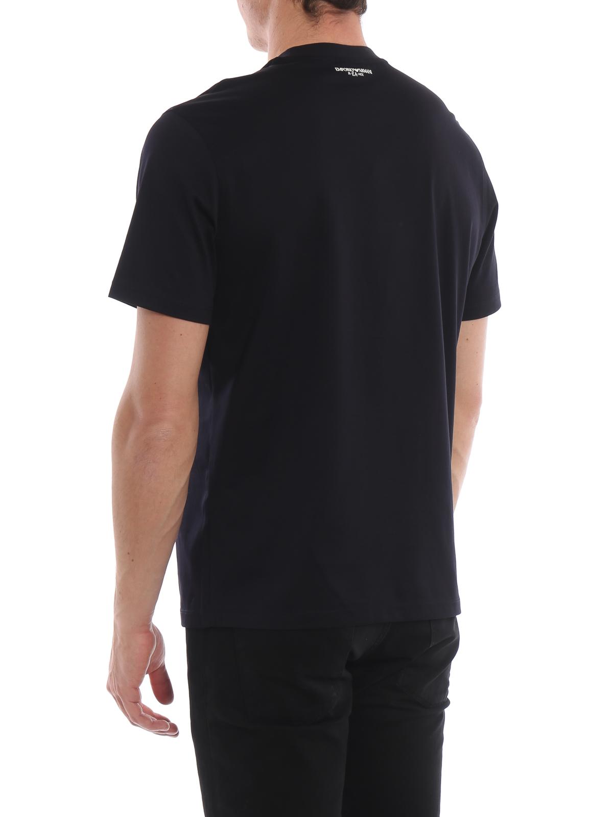 ccecca4a51 Emporio Armani - Rubberized maxi logo blue cotton T-shirt - t-shirts ...