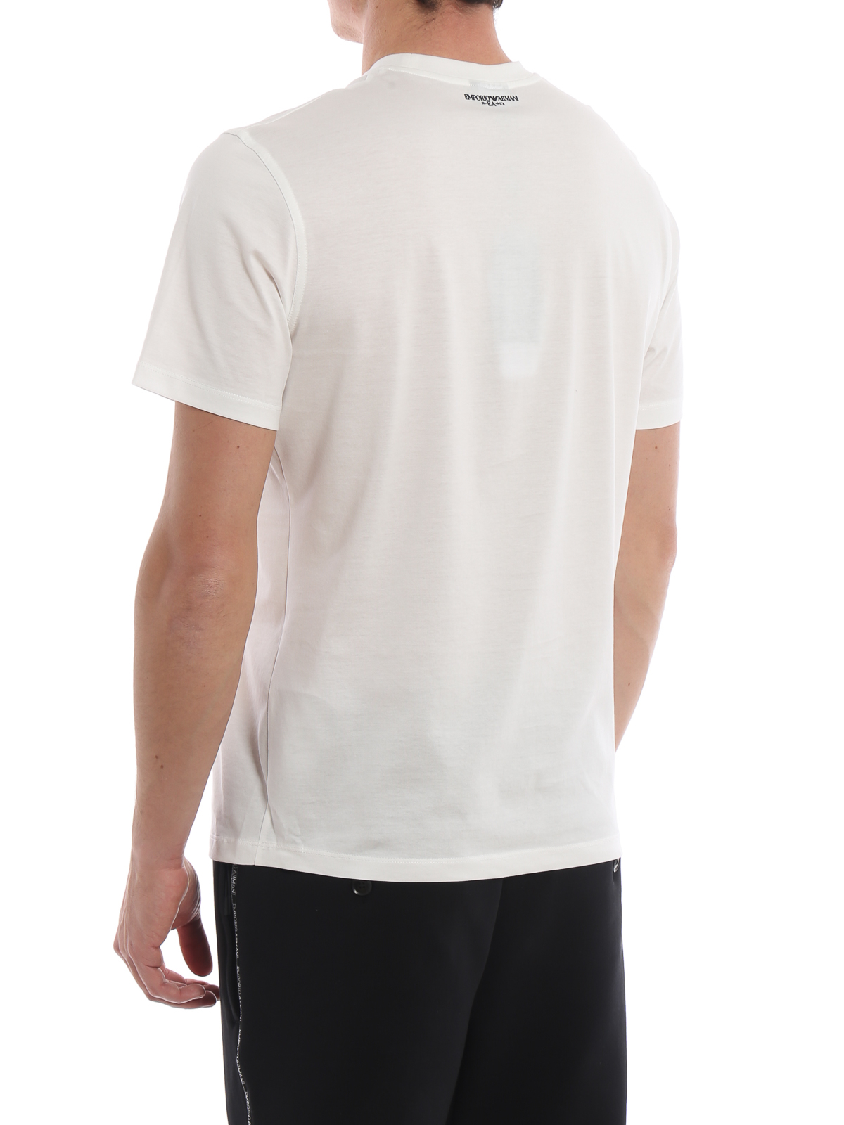 8114d11fbd Emporio Armani - Rubberized maxi logo white cotton T-shirt - t ...