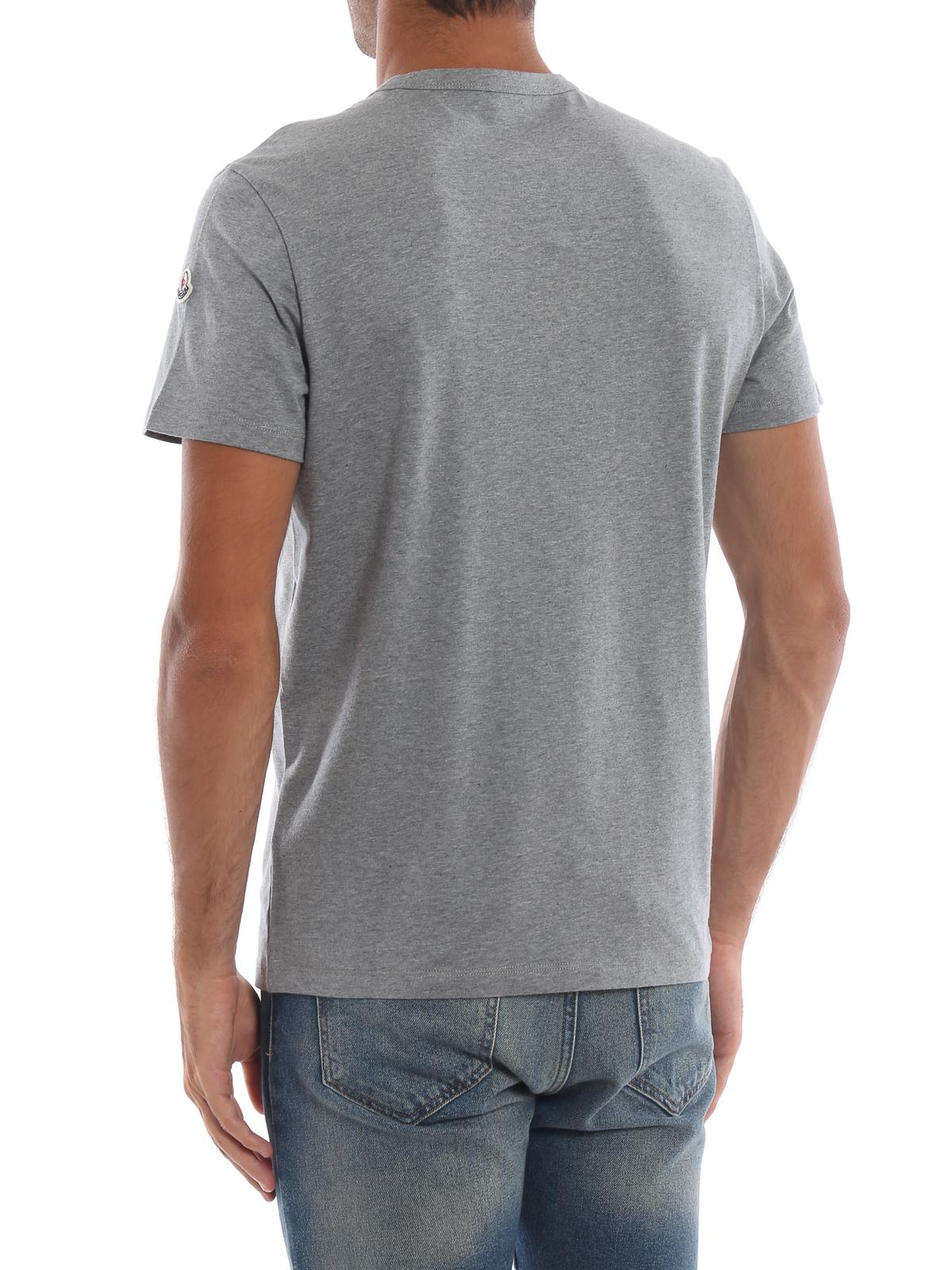 b885e1b92 Moncler - Rubberized tricolour logo print grey T-shirt - t-shirts ...