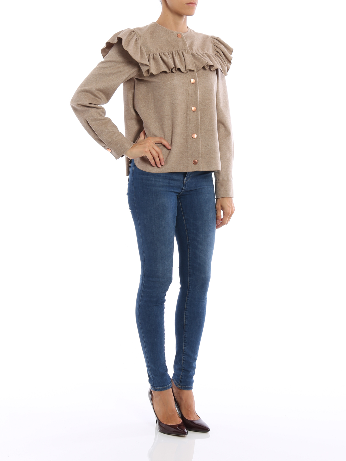 See by Chloé - Ruched wool cloth jacket - casual jackets ... b301c308b3f4