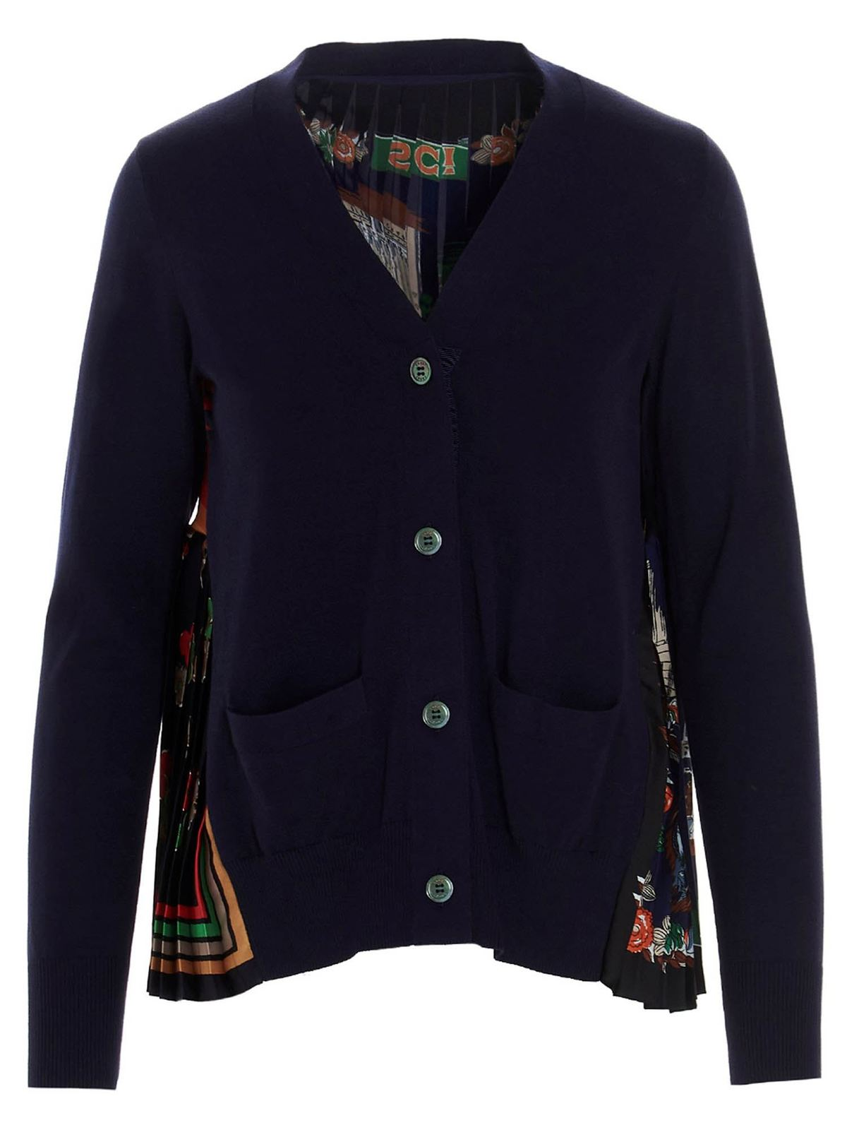 Sacai Cottons MULTICOLORED BACK CARDIGAN IN BLUE