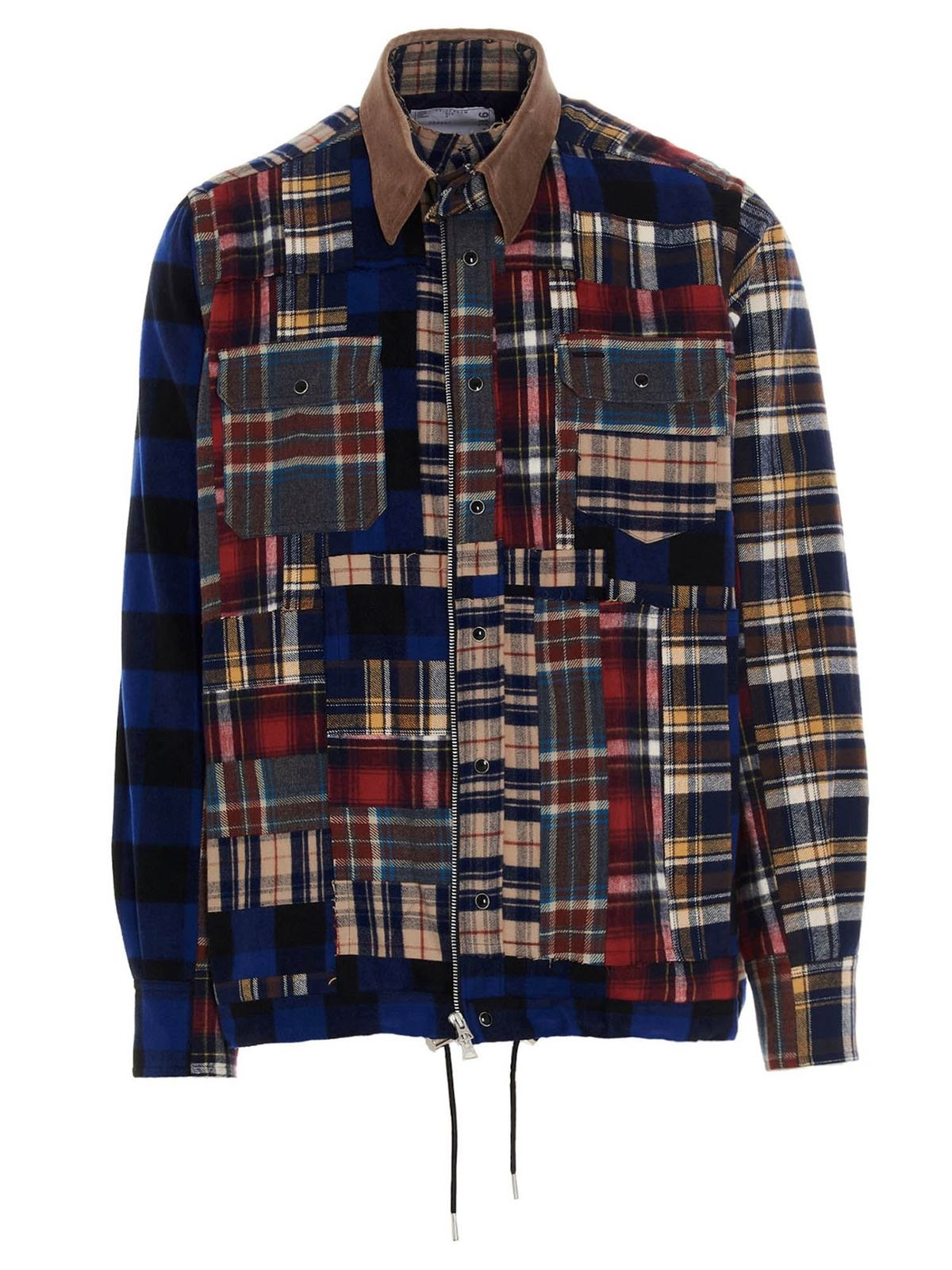 Sacai Cottons PATCHWORK OVERSHIRT IN MULTICOLOR
