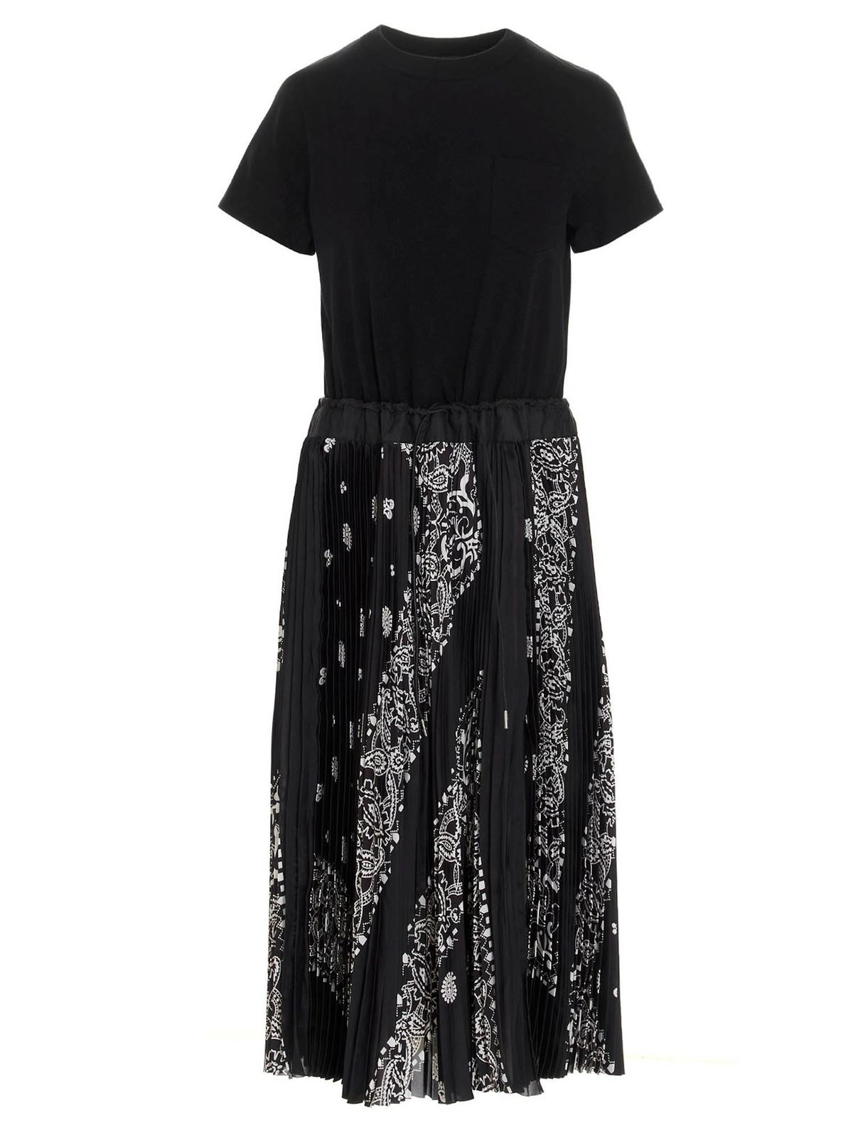 Sacai Cottons BANDANA SKIRT DRESS IN BLACK