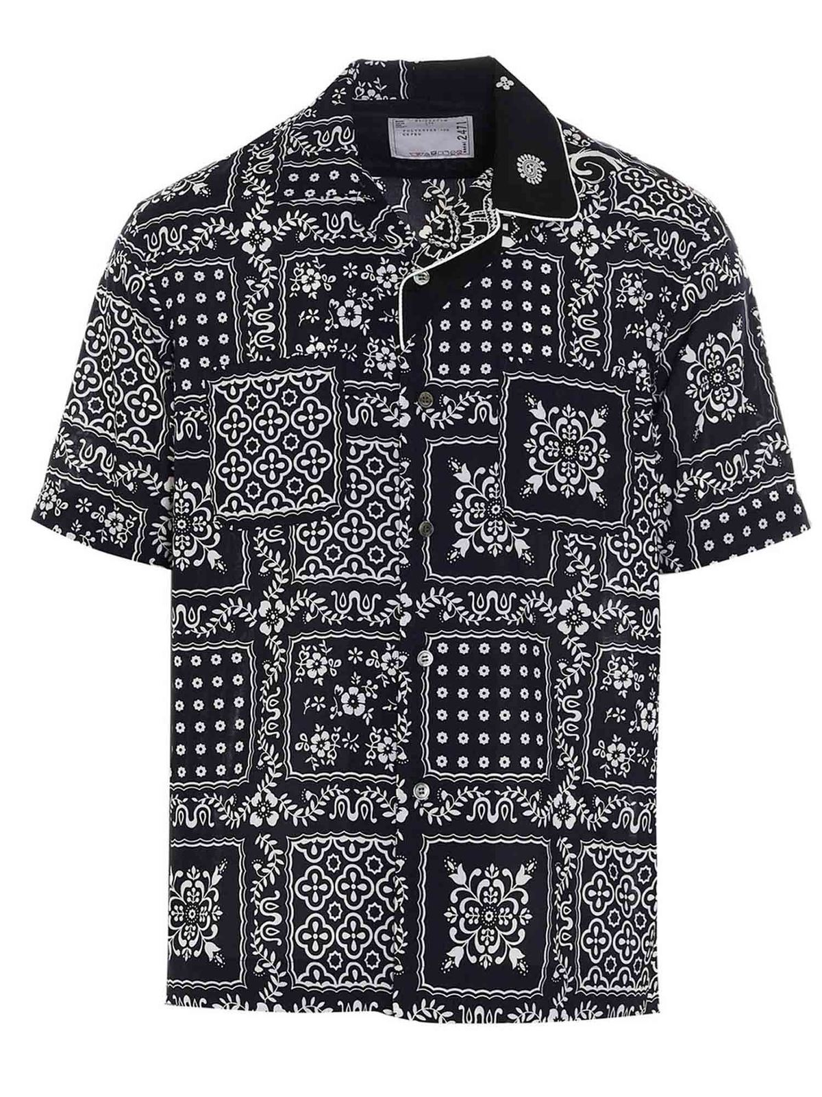 Sacai Shirts PAISLEY PATTERNED SHIRT IN BLUE
