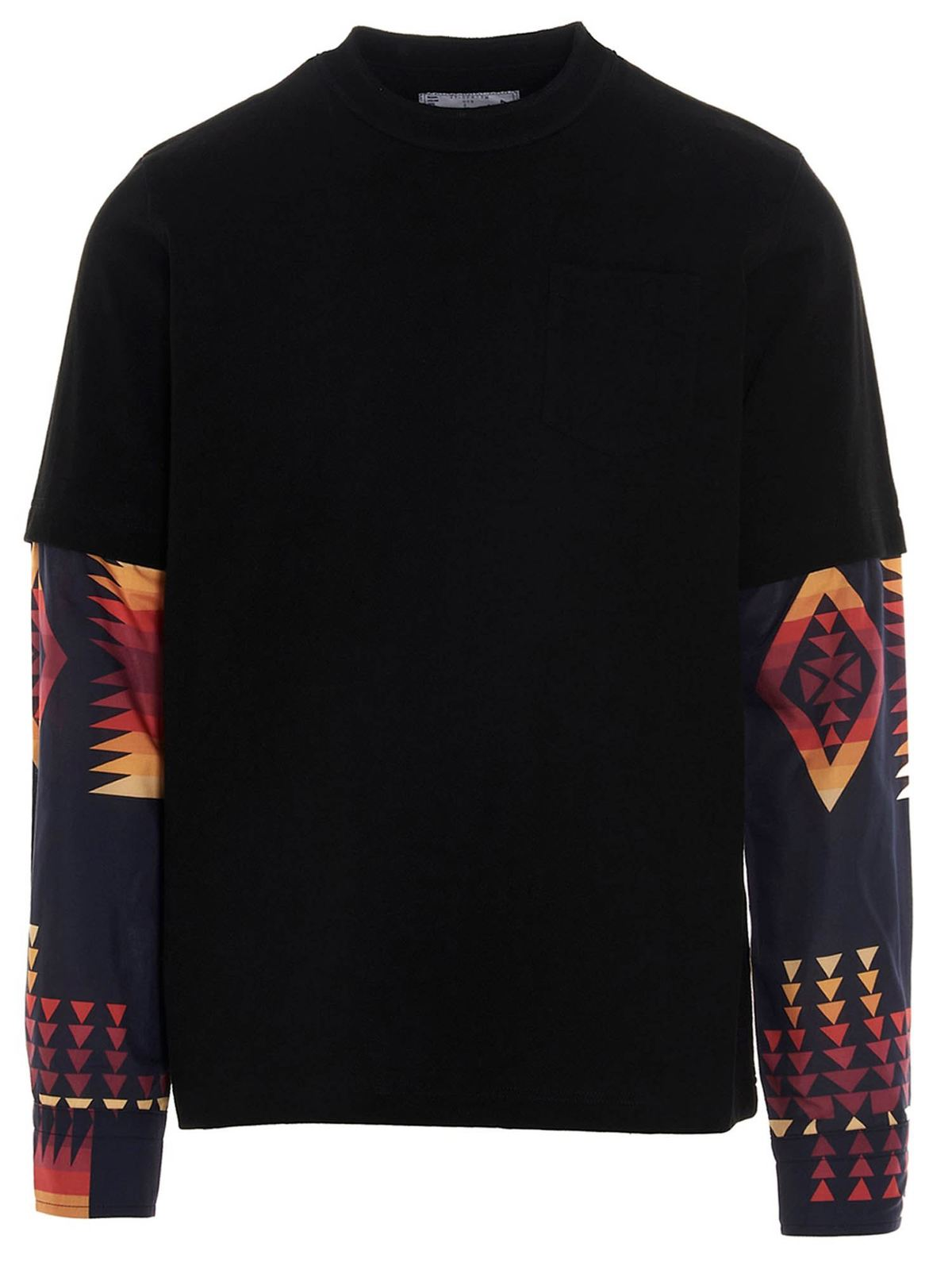 Sacai Cottons MULTICOLOR INSERTS T-SHIRT IN BLACK