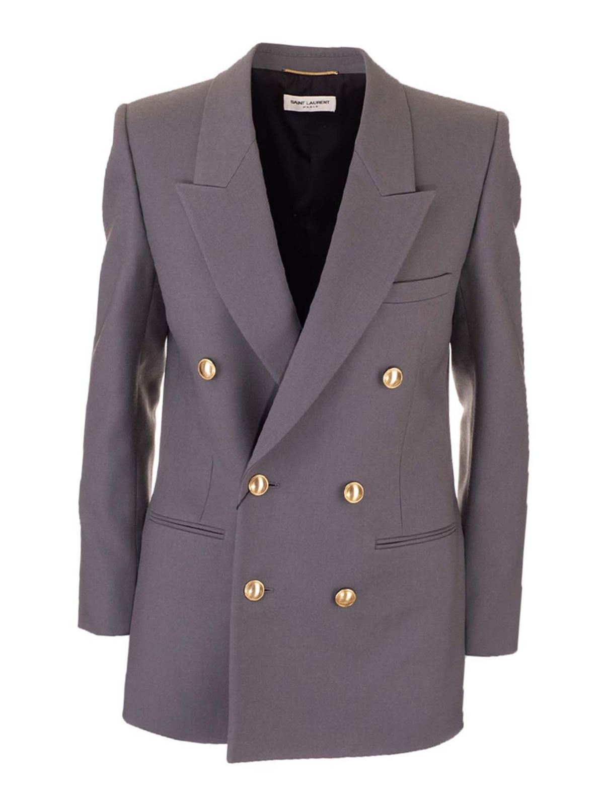 Saint Laurent DOUBLE-BREASTED JACKET IN FOG COLOR