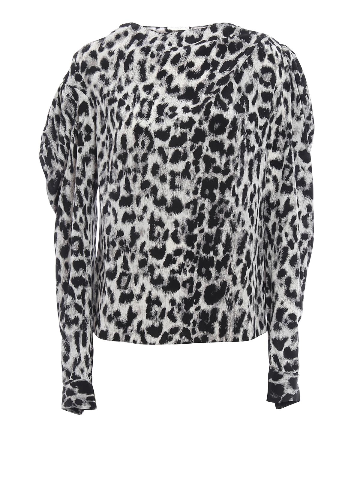 0c15341562e01c Saint Laurent - Animal print silk asymmetric blouse - blouses ...