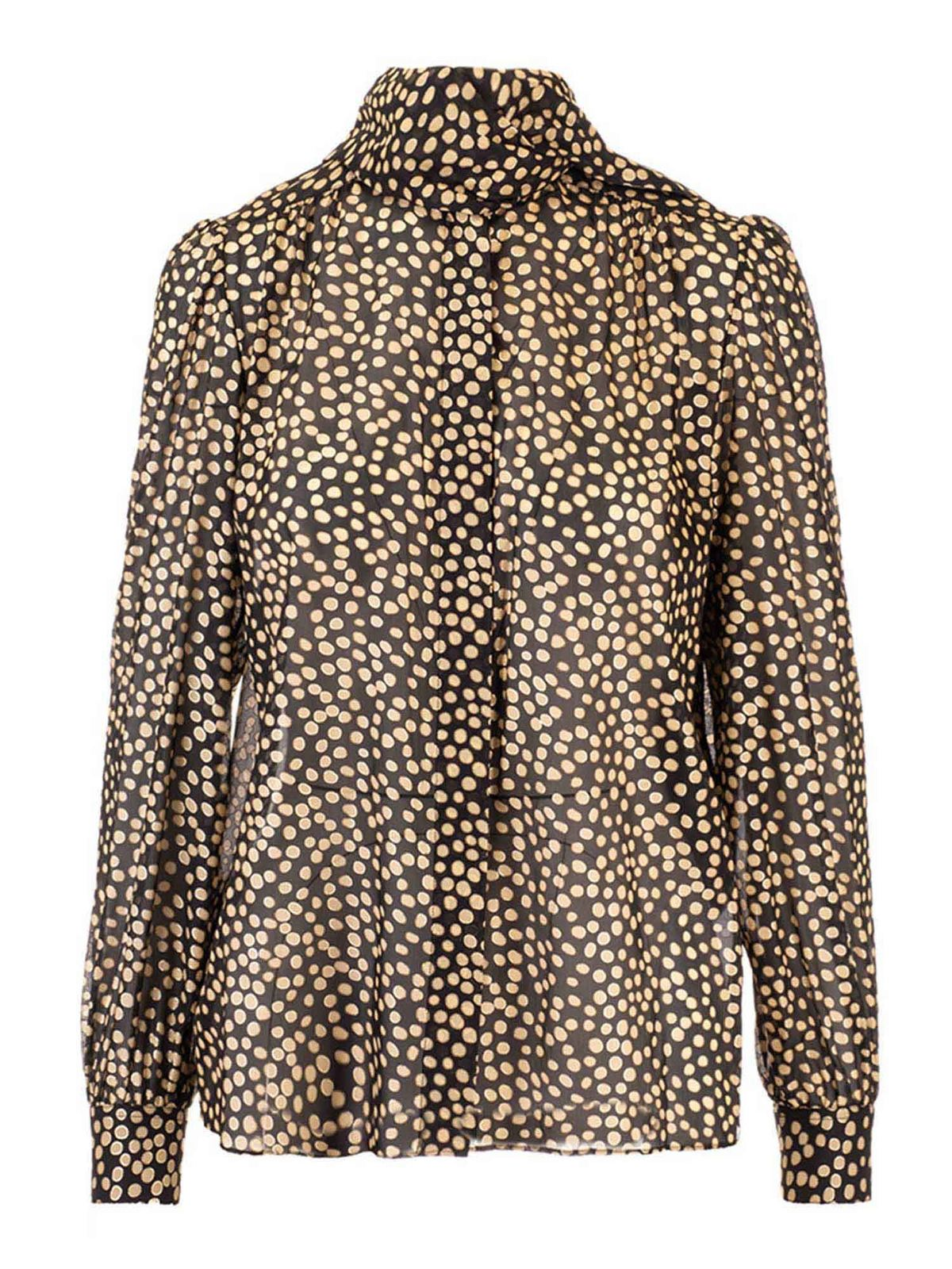 SAINT LAURENT LAVALLIERE BLOUSE IN GOLD AND BLACK