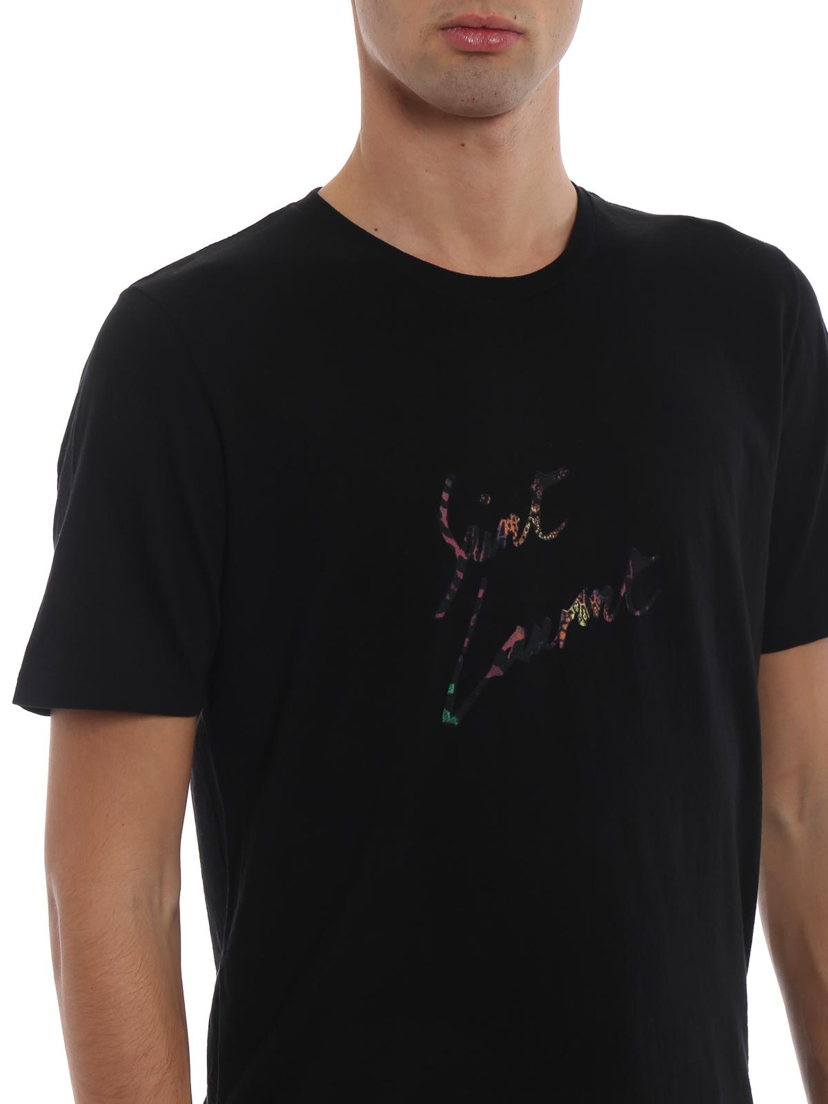 3a1ce6d692 Saint Laurent - Animal print Signature T-shirt - t-shirts ...