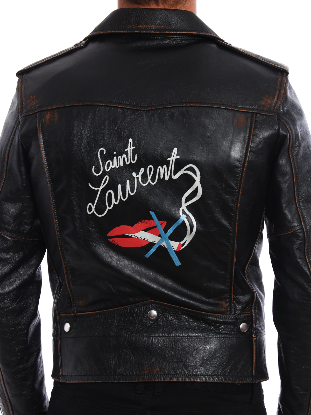 Saint Laurent - Giacca Motorcycle in pelle vintage - giacche in ... a8c2fa88915