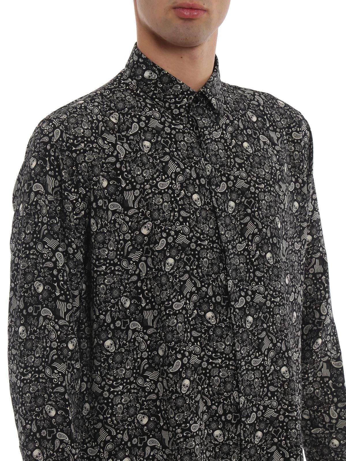 1e213413204 Saint Laurent - Silk crepe de chine Skull shirt - shirts ...