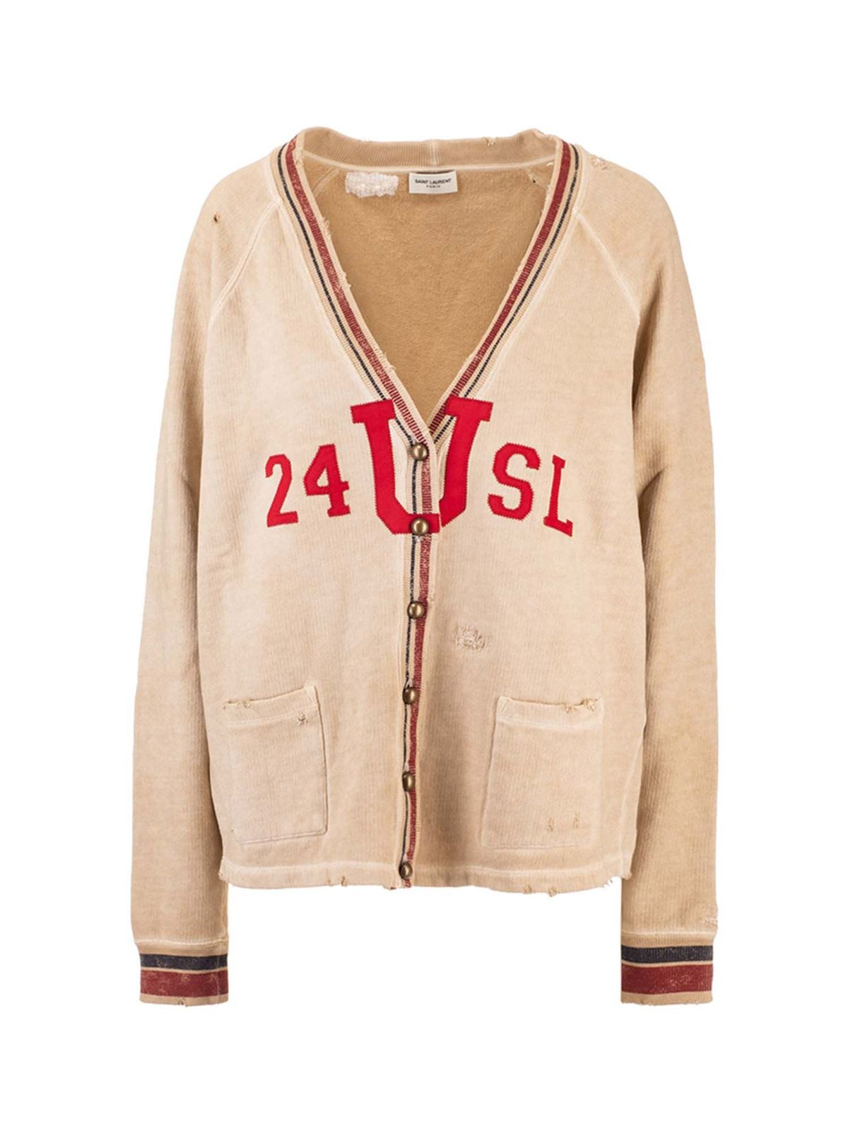 SAINT LAURENT VINTAGE EFFECT CARDIGAN IN BEIGE