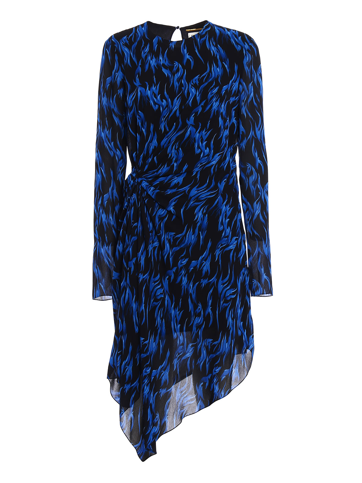 fe0321f1c7e SAINT LAURENT: knee length dresses - Patterned crepe asymmetric dress