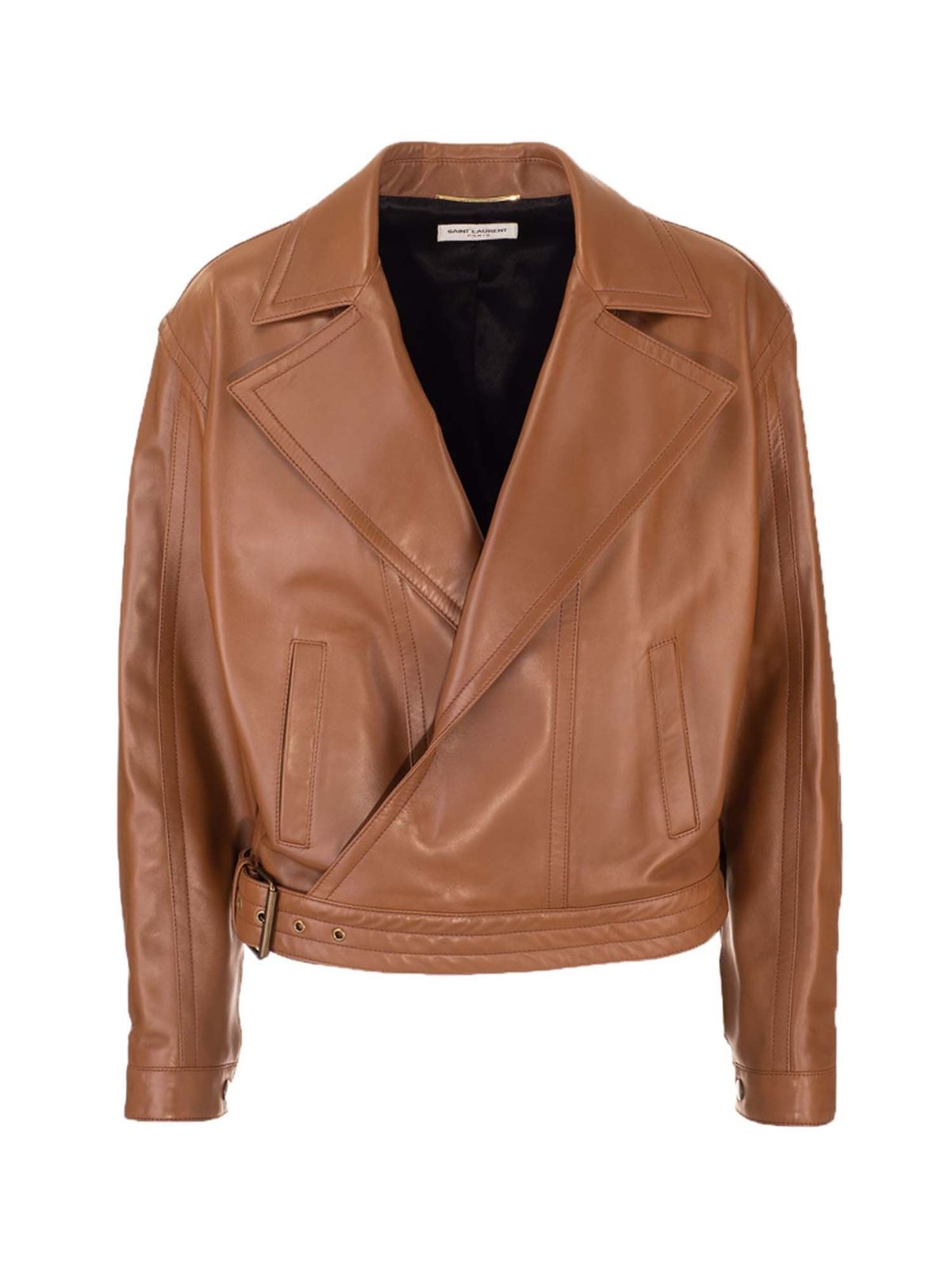 Saint Laurent OVERSIZED BIKER JACKET IN CAMEL