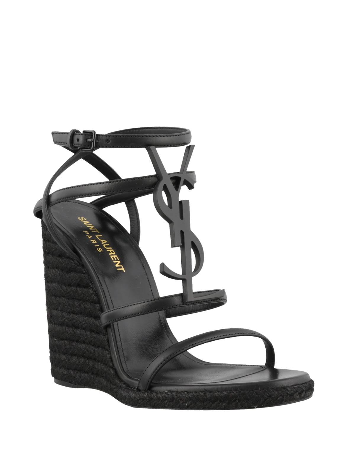 ba1d9139f4b8 SAINT LAURENT  sandals online - Cassandra 105 black wedge sandals