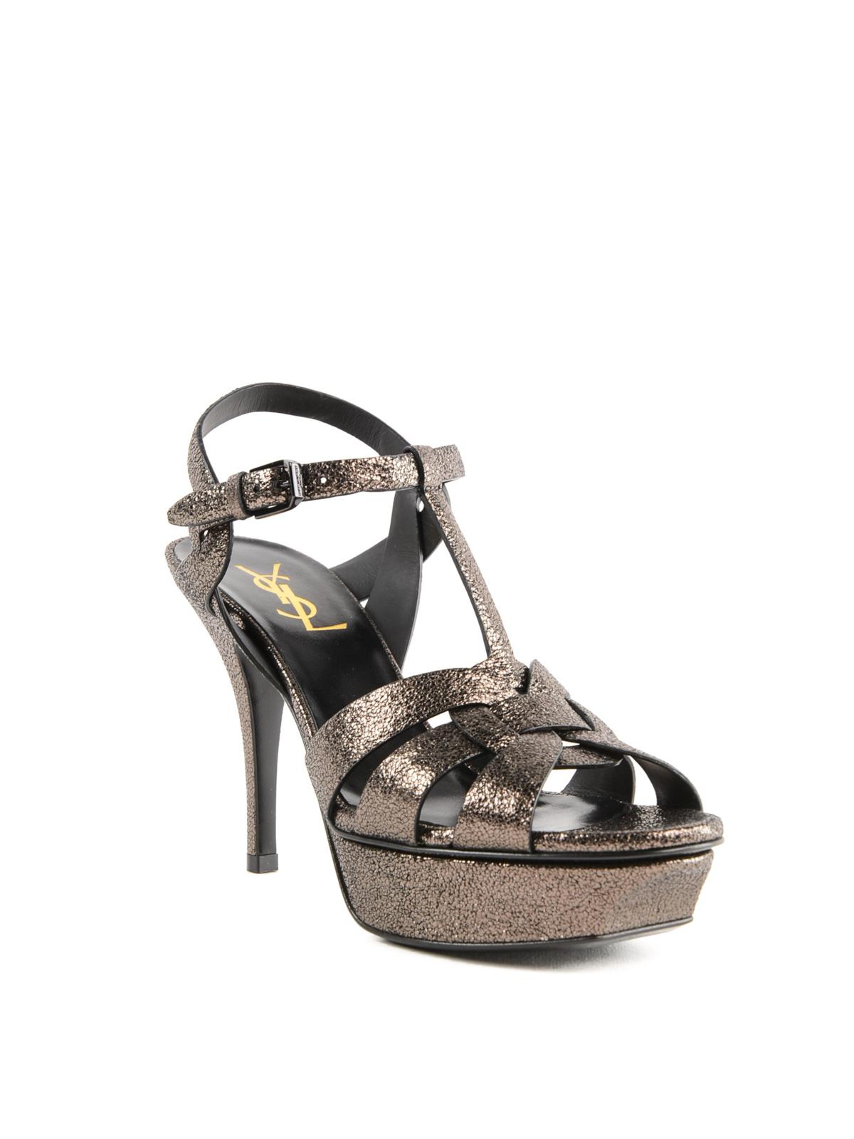 a8947306a30 SAINT LAURENT  sandals online - Tribute metallic leather platform sandals
