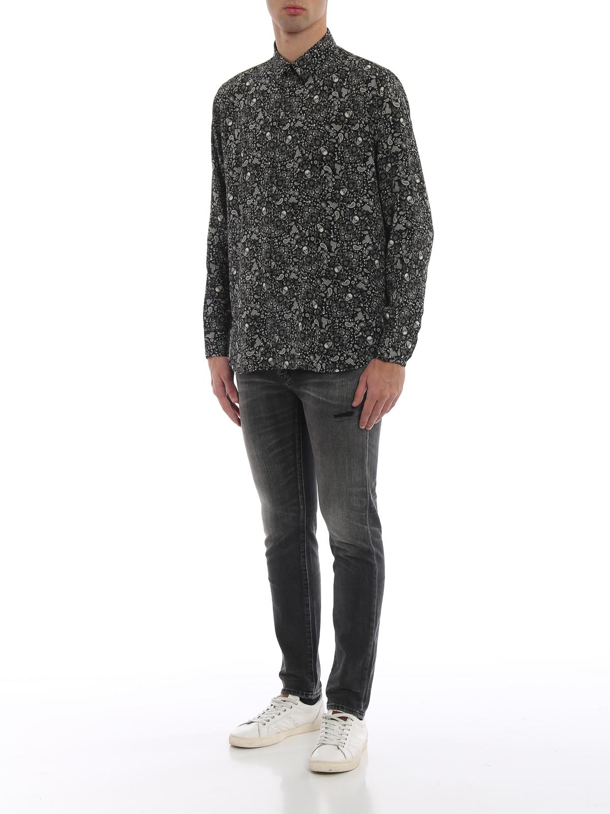 6fd608c17ff SAINT LAURENT: shirts online - Silk crepe de chine Skull shirt