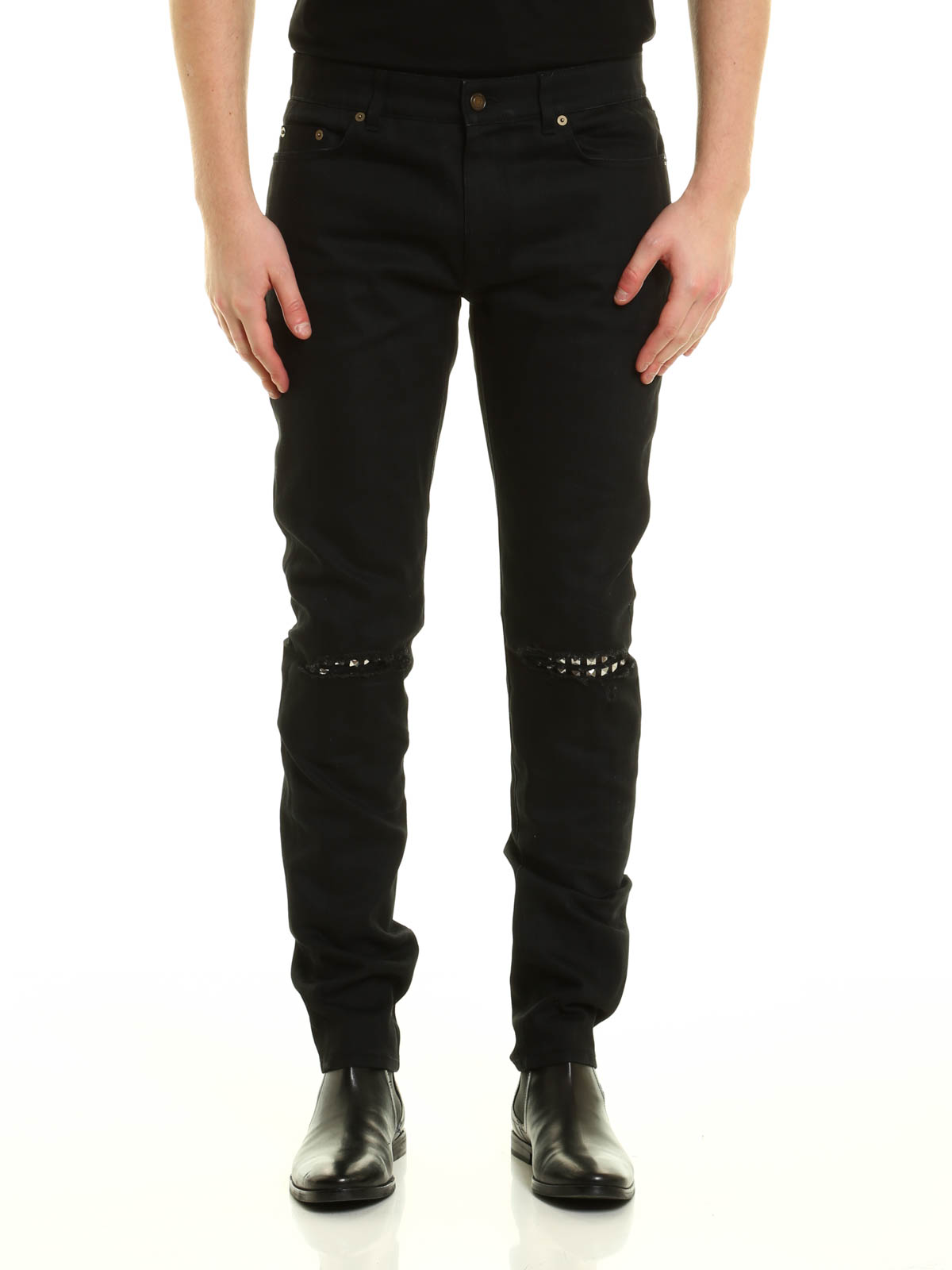 6dcaef62e7 Saint Laurent - Studded leather patches jeans - skinny jeans ...