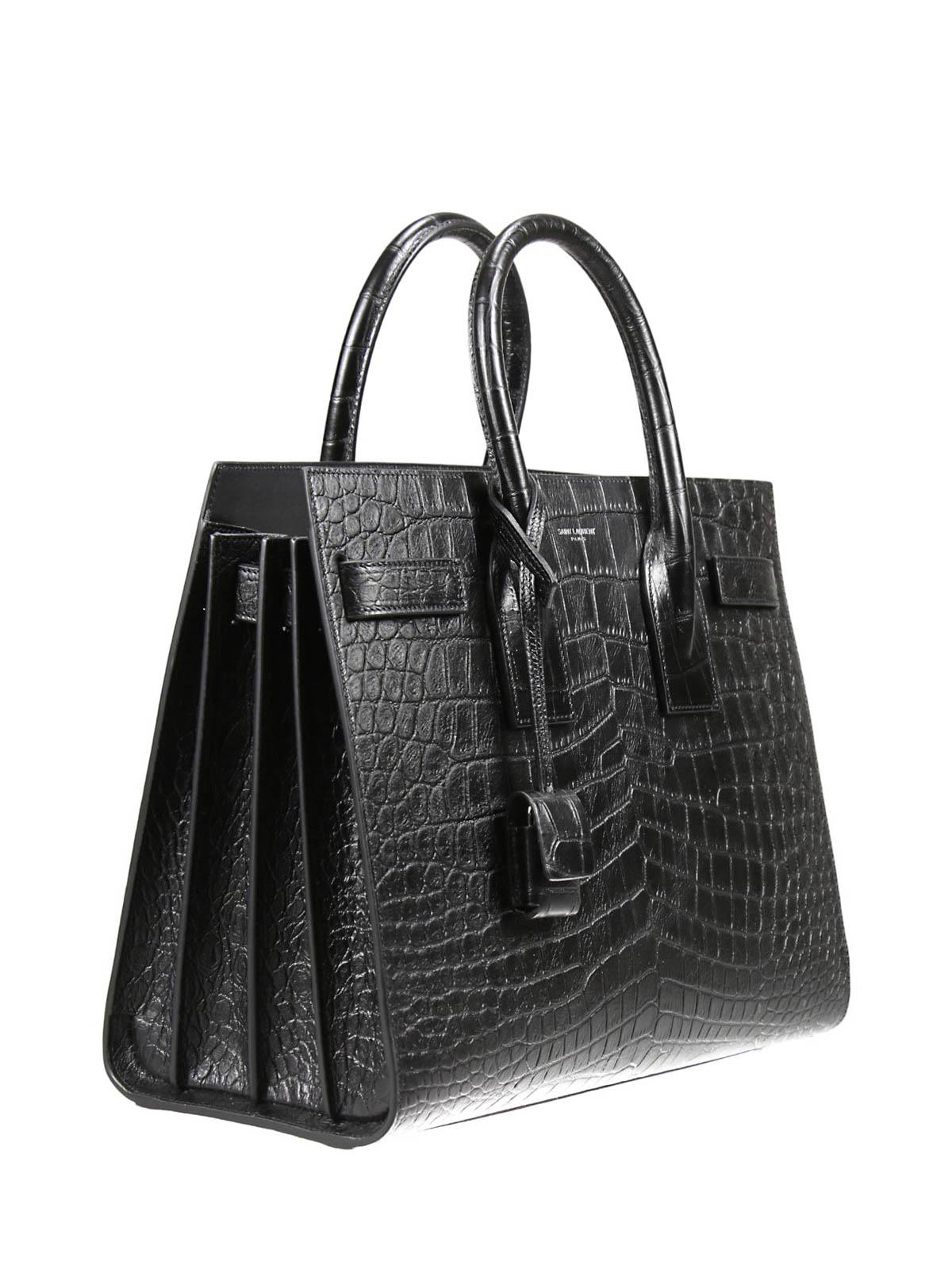 Laurent Handbag Sacs Main Jour De À Sac Croco Leather Saint DHYeIW2E9