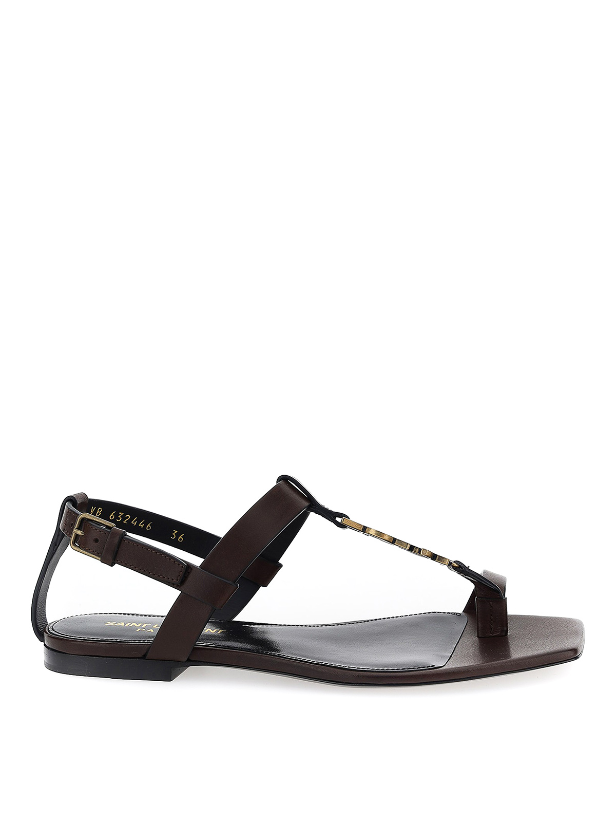 SAINT LAURENT CASSANDRA SANDALS IN BROWN