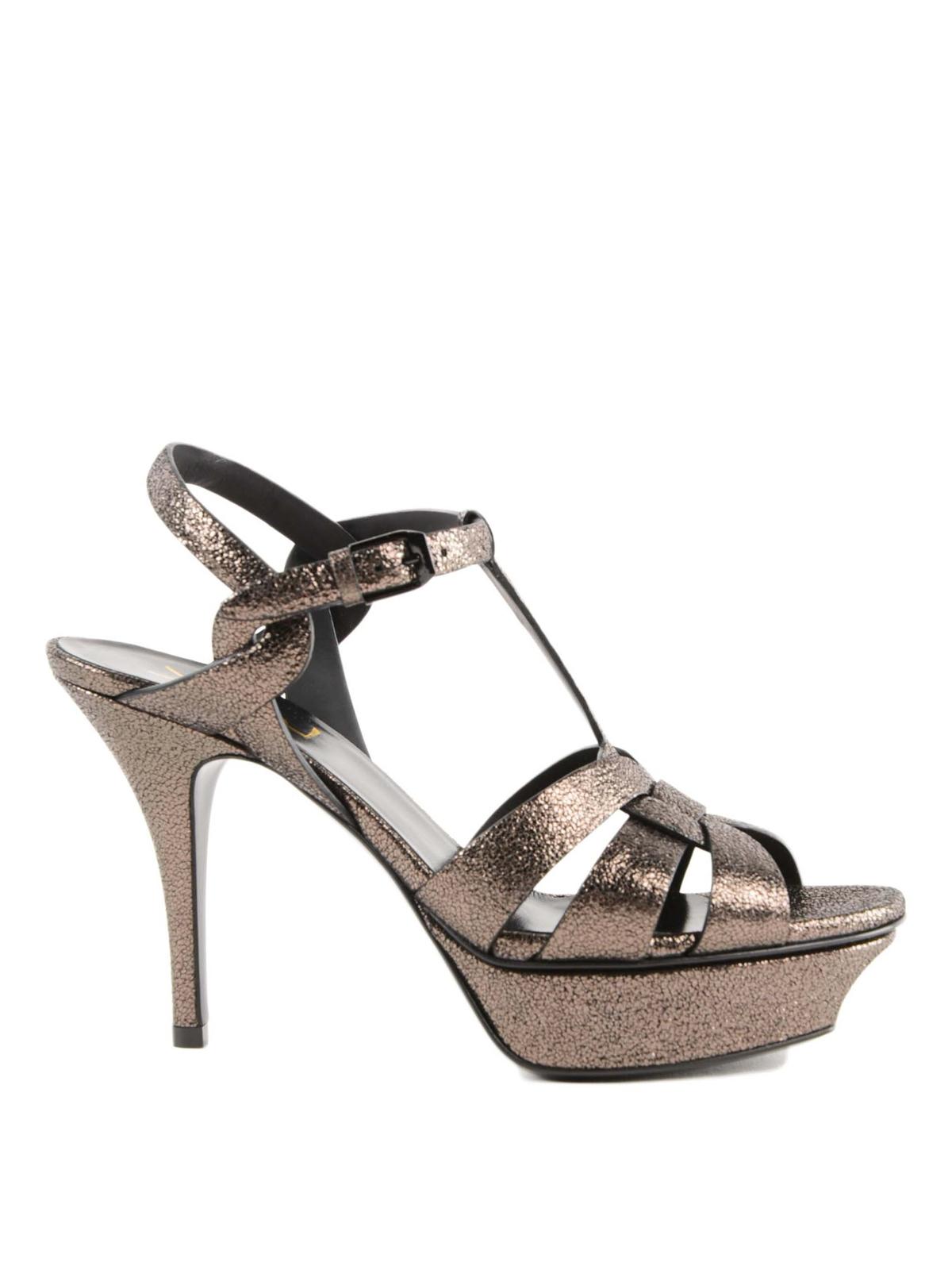 55bf1b736ba829 Saint Laurent - Tribute metallic leather platform sandals - sandals ...