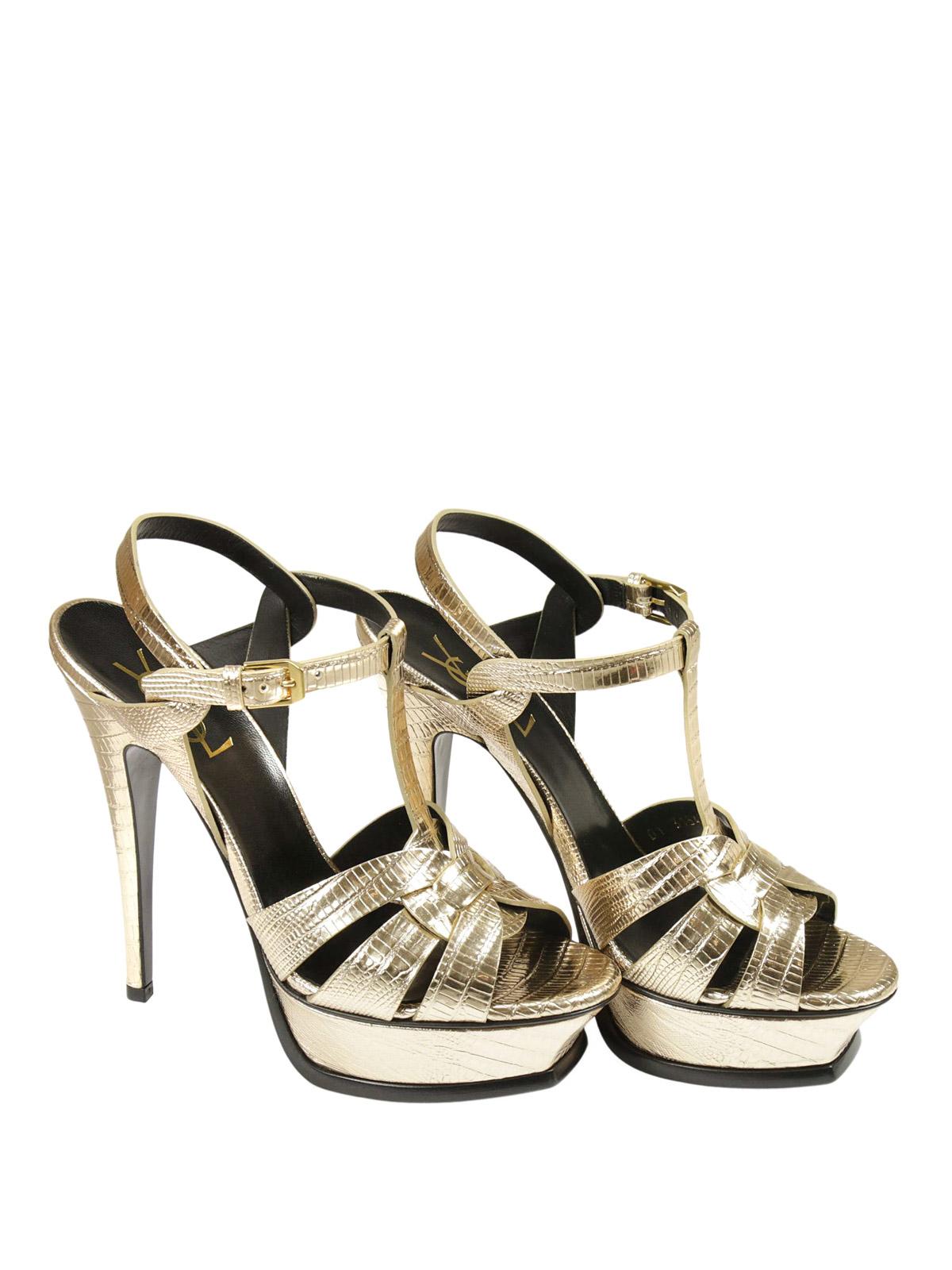 Saint Laurent Tribute Sandal In Lizard Leather Sandals