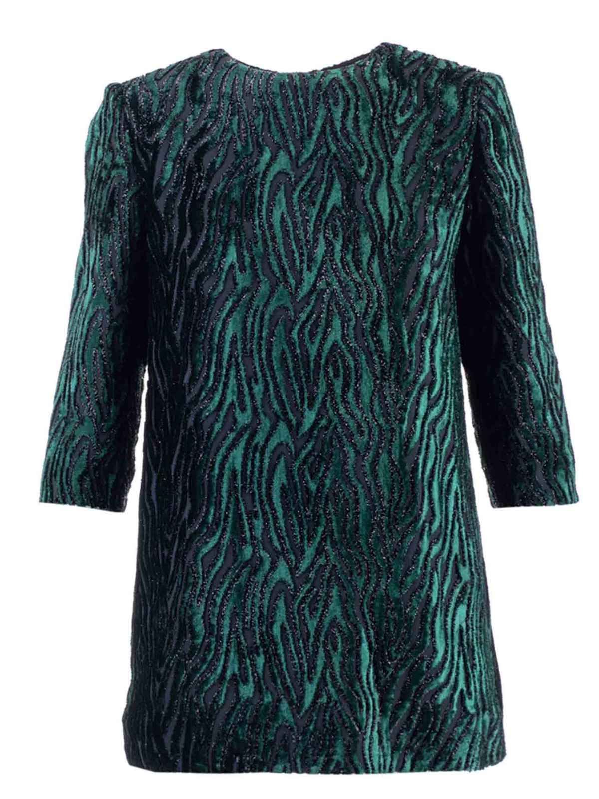 SAINT LAURENT SHORT DRESS IN GREEN AND BLACK ANIMALIER