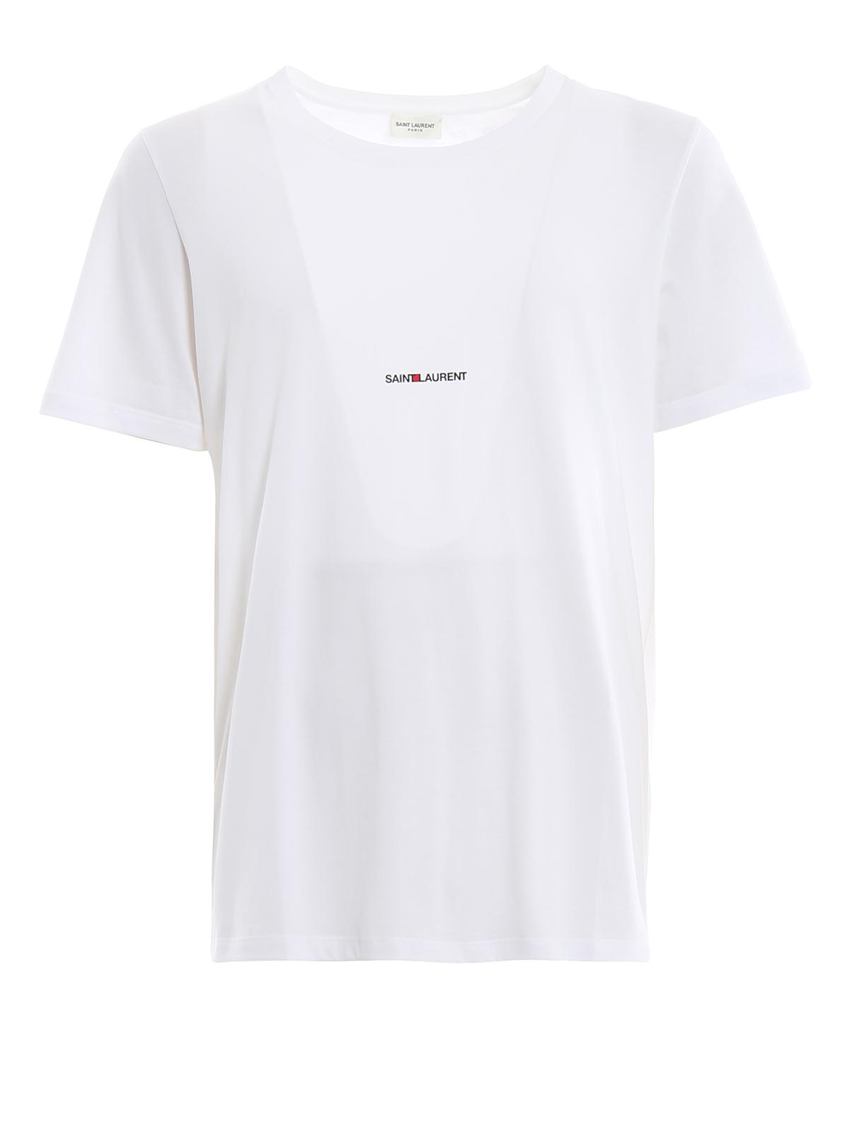 saint laurent cotton jersey logo white tee t shirts. Black Bedroom Furniture Sets. Home Design Ideas