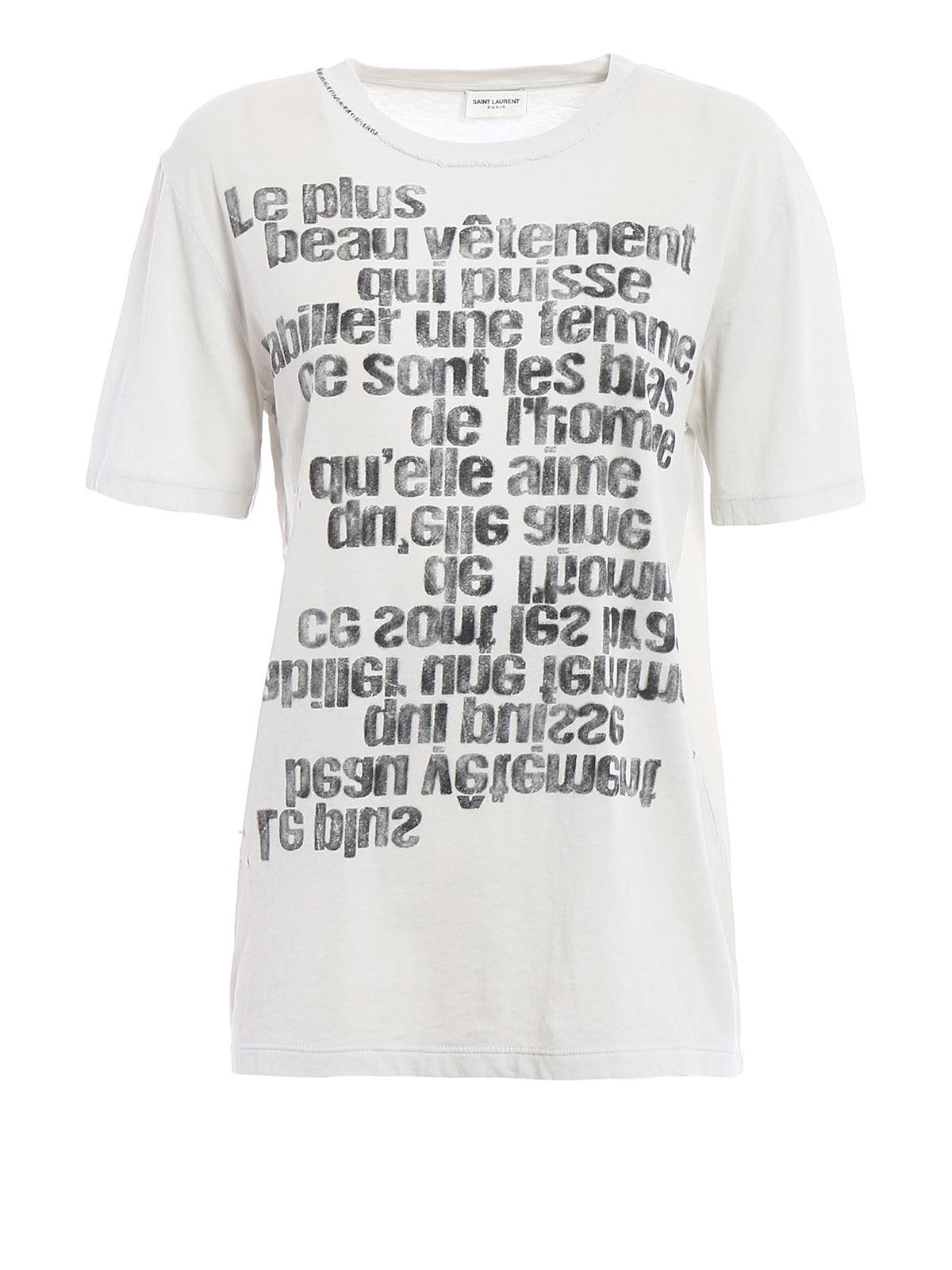 T shirt con stampa sbiadita e fori saint laurent t shirt for Saint laurent t shirt