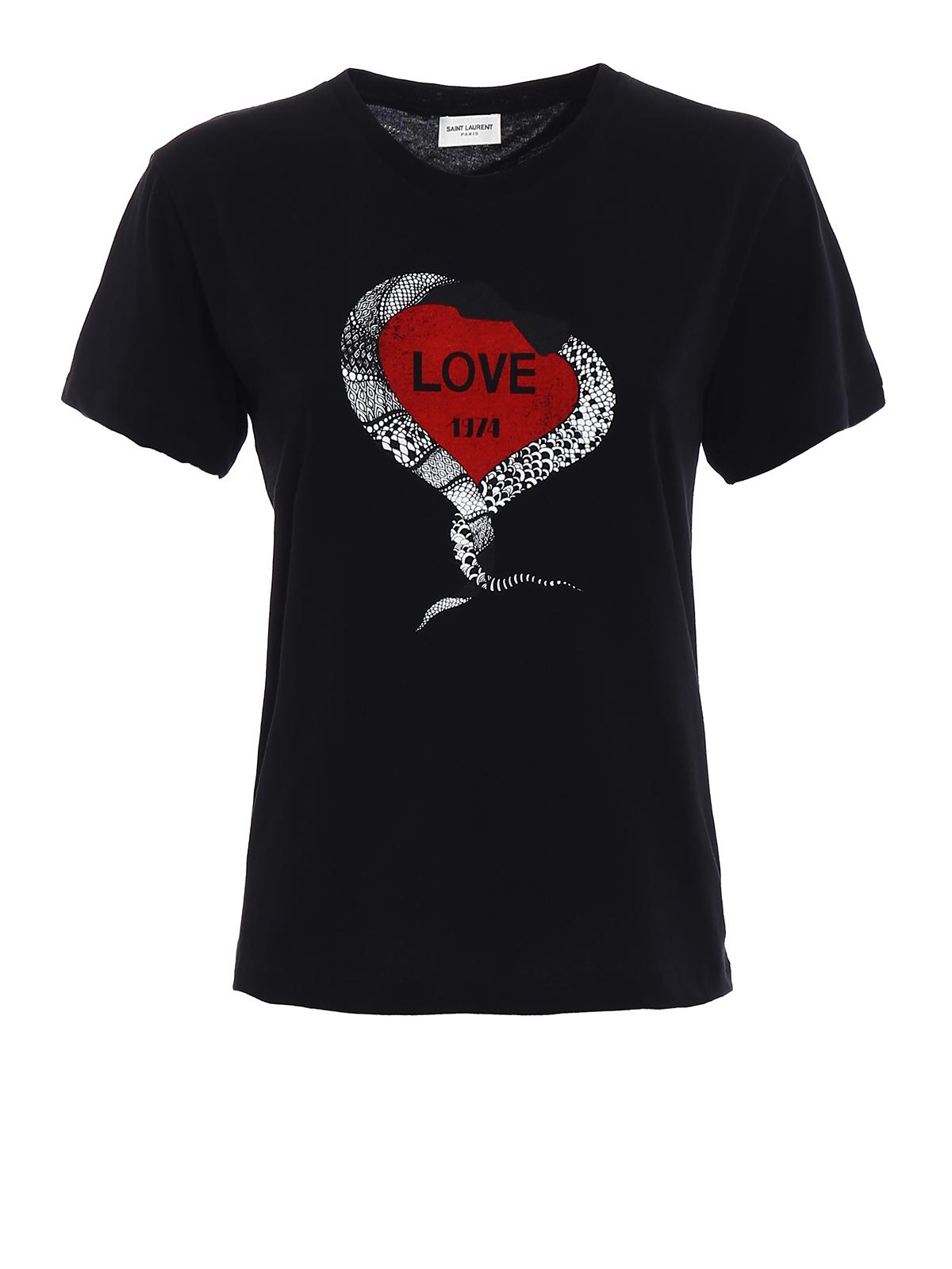 Love print cotton t shirt by saint laurent t shirts ikrix for Saint laurent t shirt
