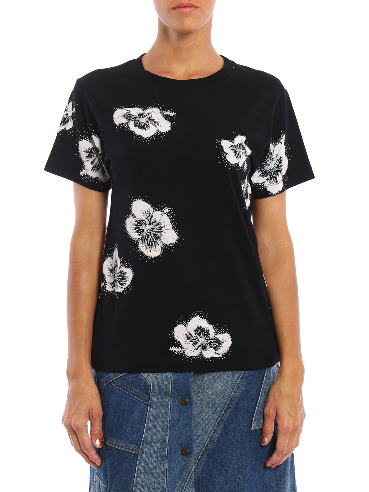 Glittery flower printed t shirt by saint laurent t for T shirt printers online