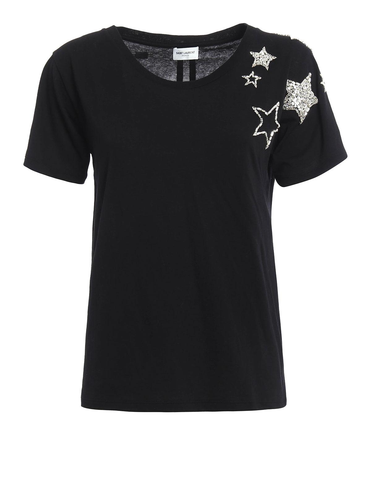 Rhinestone stars detailed t shirt by saint laurent t for Saint laurent t shirt