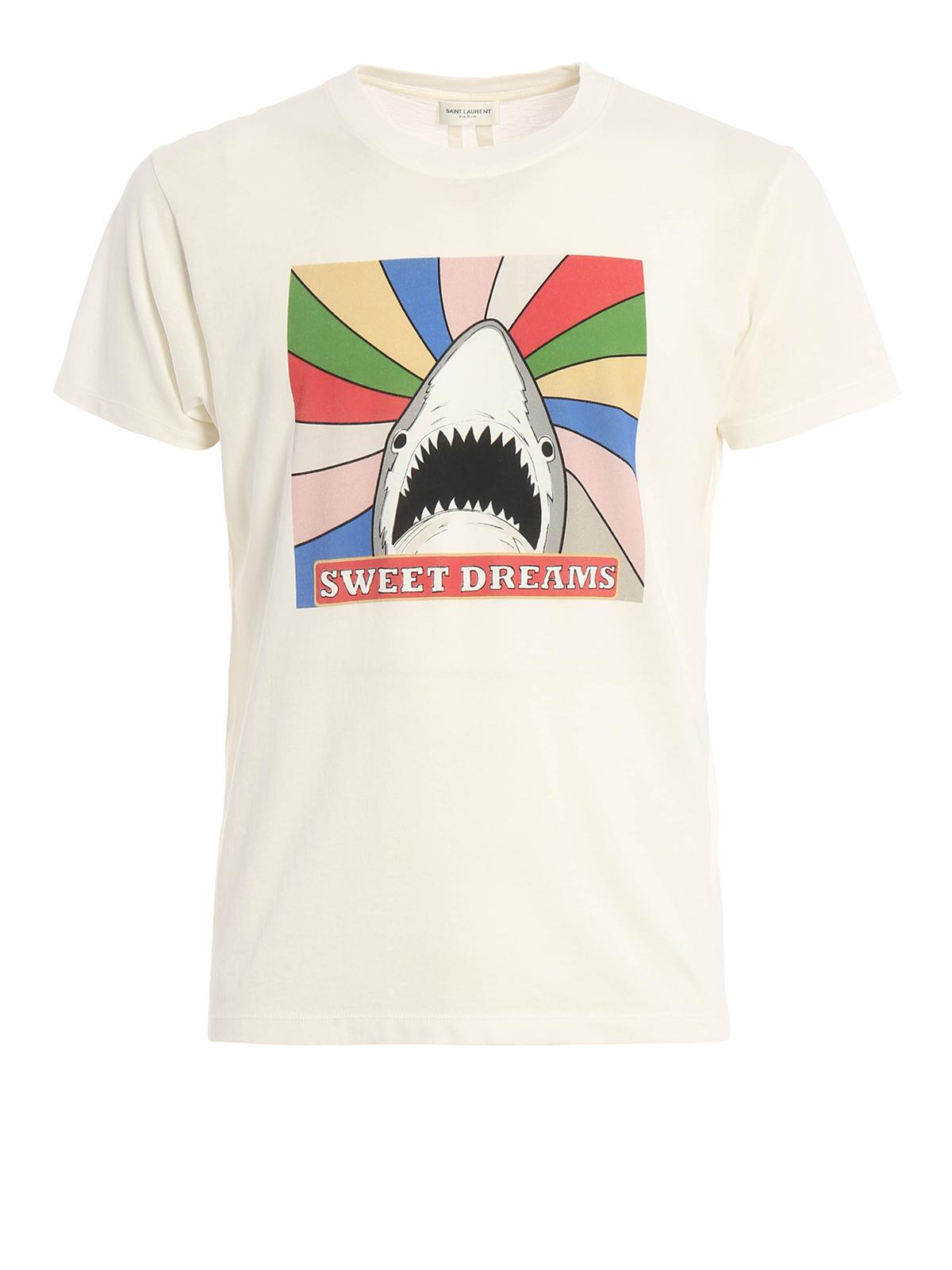 saint laurent shark print t shirt t shirts 454147. Black Bedroom Furniture Sets. Home Design Ideas