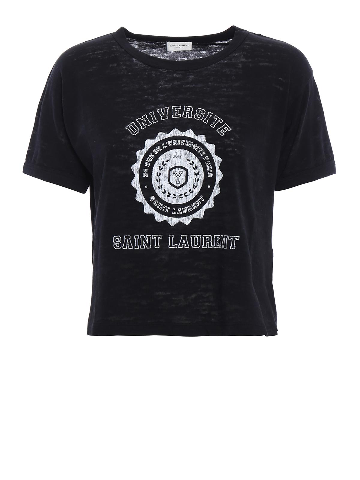 Universite print crop t shirt by saint laurent t shirts for Saint laurent t shirt