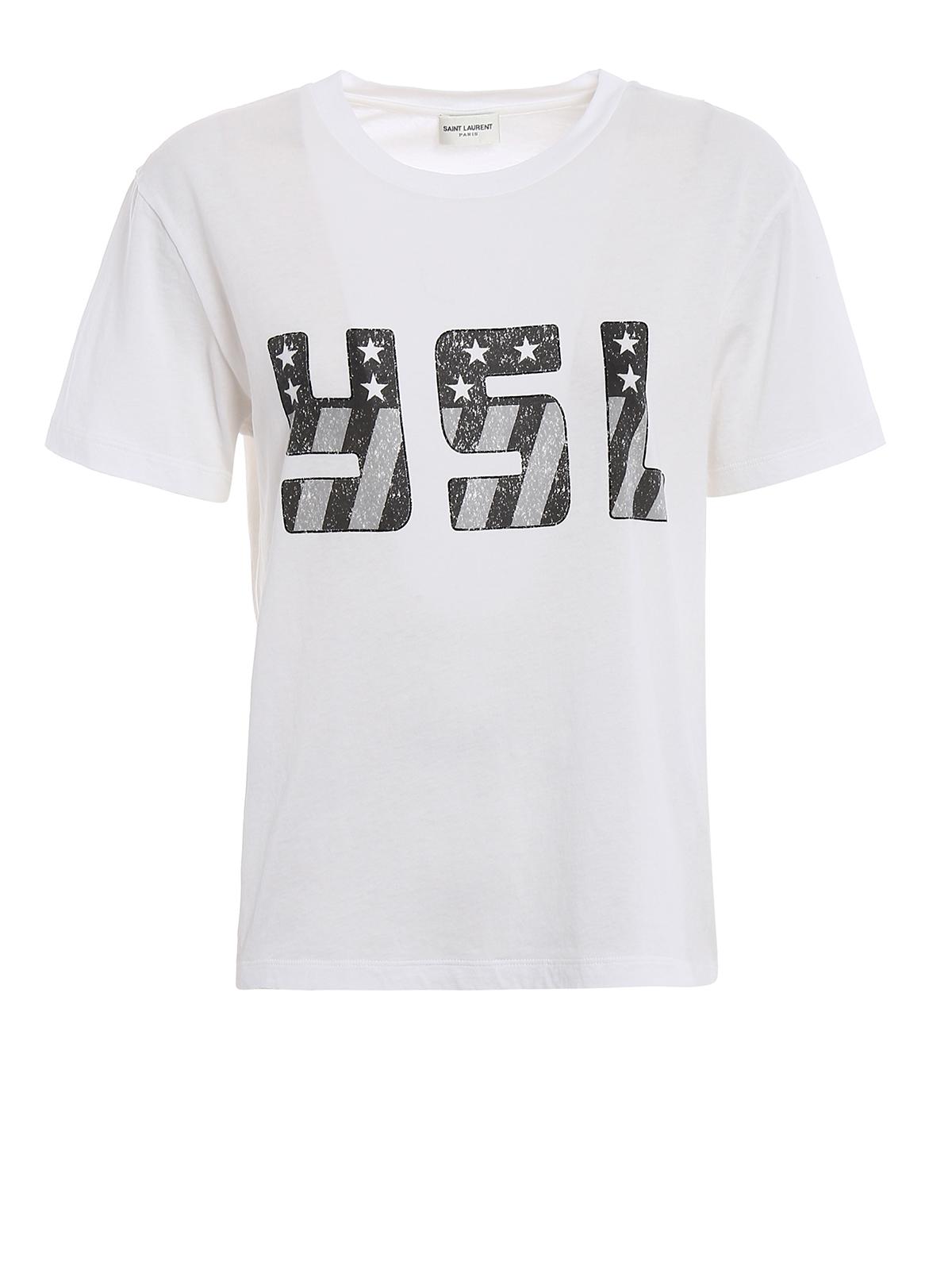 Ysl print white t shirt by saint laurent t shirts ikrix for Saint laurent t shirt