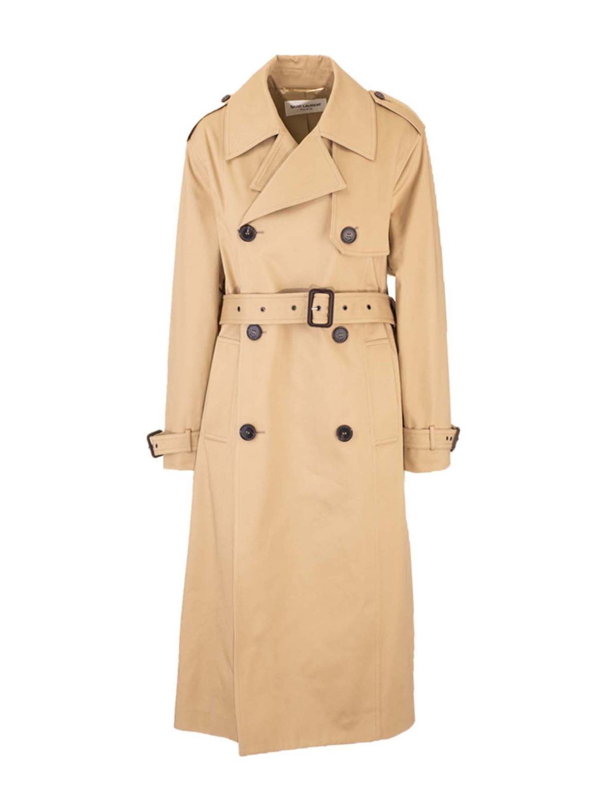 Saint Laurent DOUBLE-BREASTED TWILL TRENCH COAT IN BEIGE