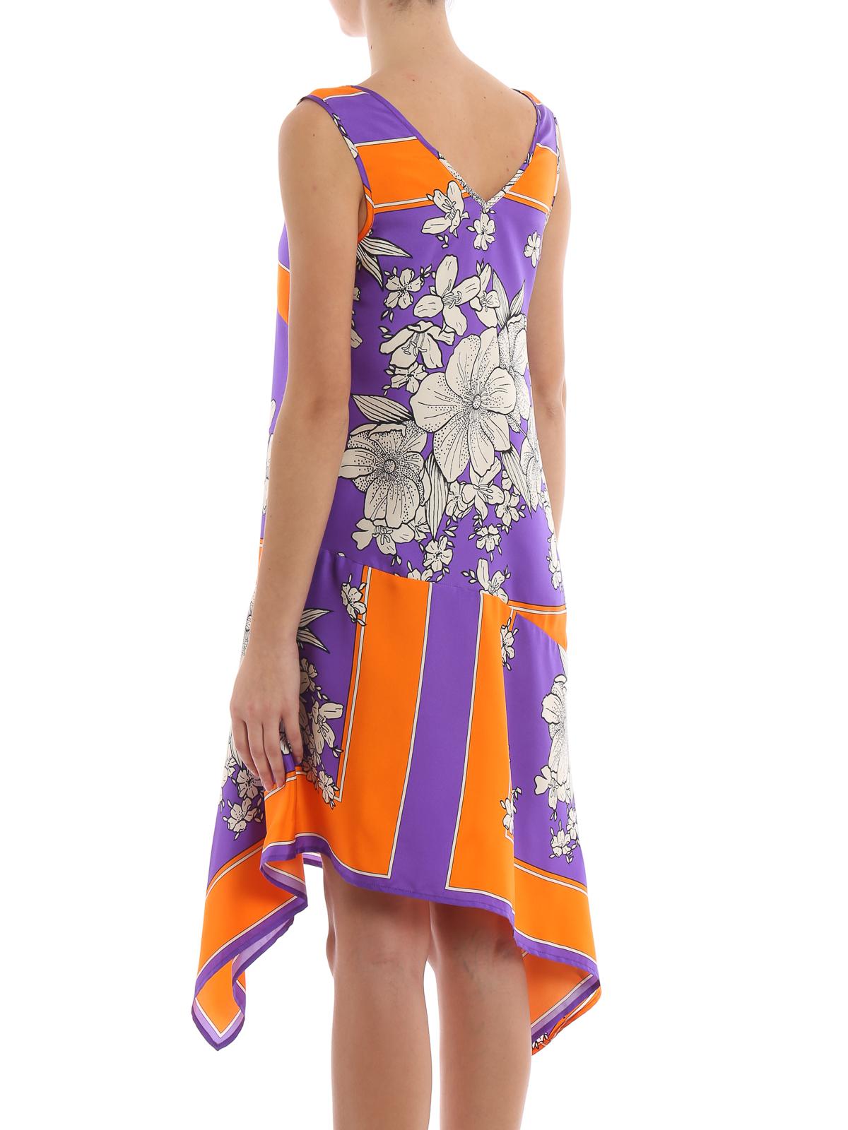 Knee h a s o P Length Salto Floral Dress r Asymmetric Silk RvdqW7WI
