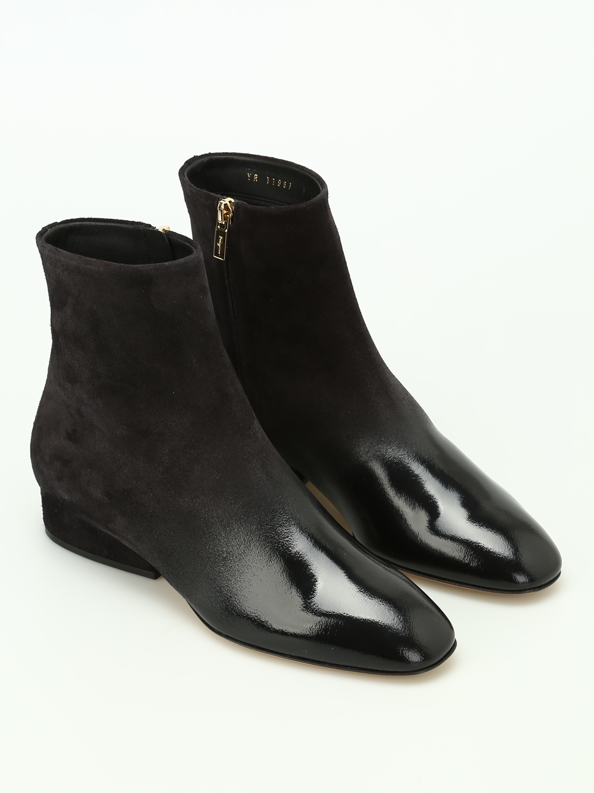 Salvatore Ferragamo: ankle boots online - Pisa suede and leather ankle boots